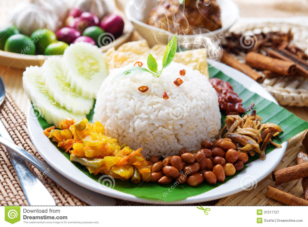Nasi lemak malaysian dish royalty free stock photography for Authentic malaysian cuisine