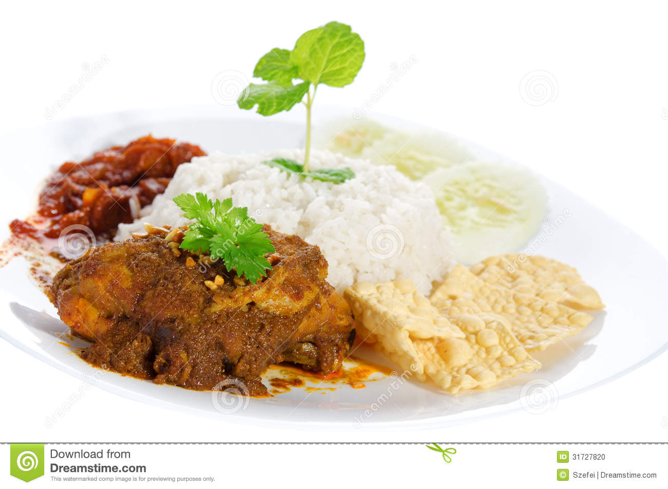 Nasi lemak traditional malay food stock photo image for Authentic malaysian cuisine