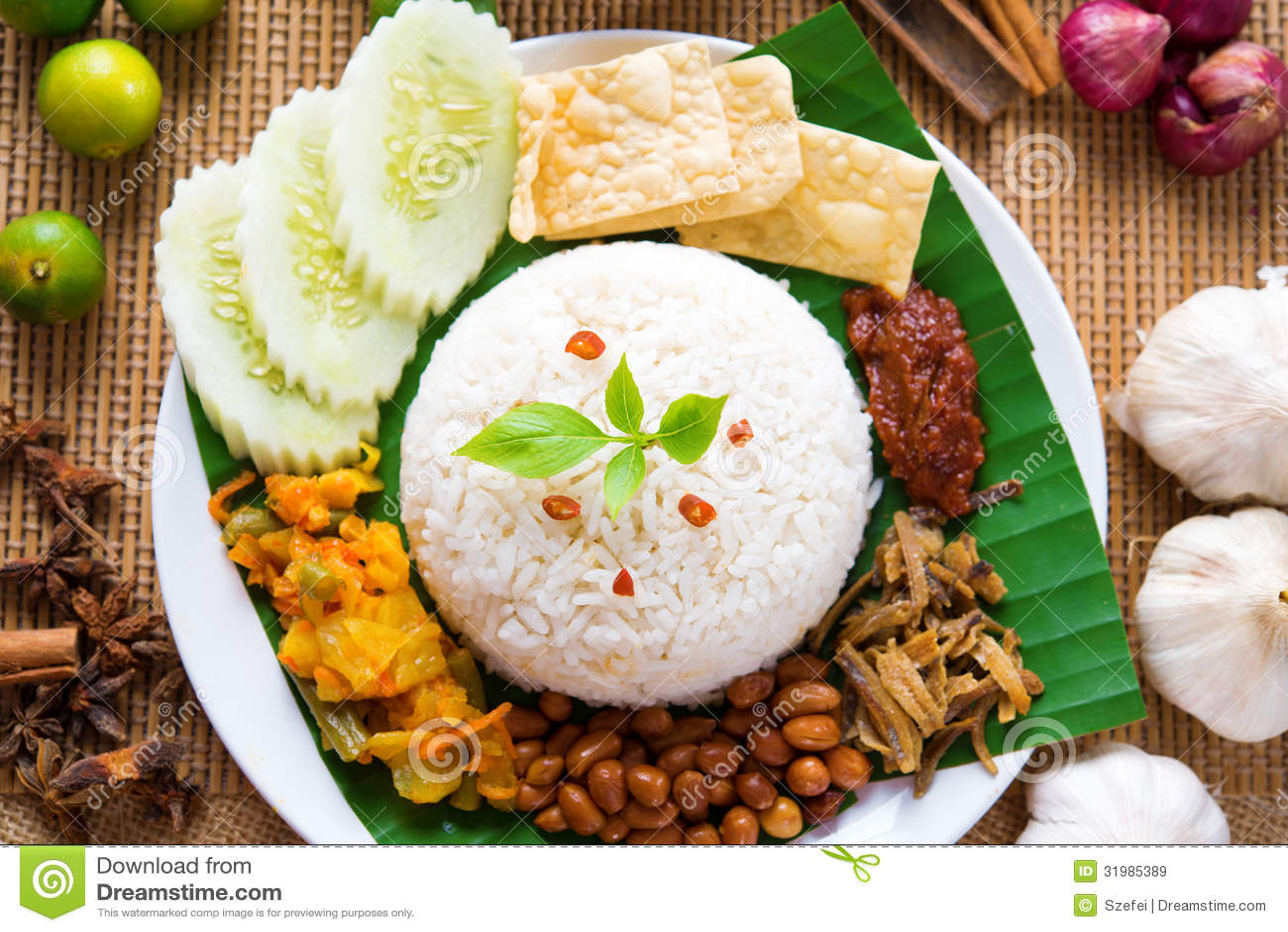 Nasi Lemak Stock Image Image Of Chicken Indonesian 31985389