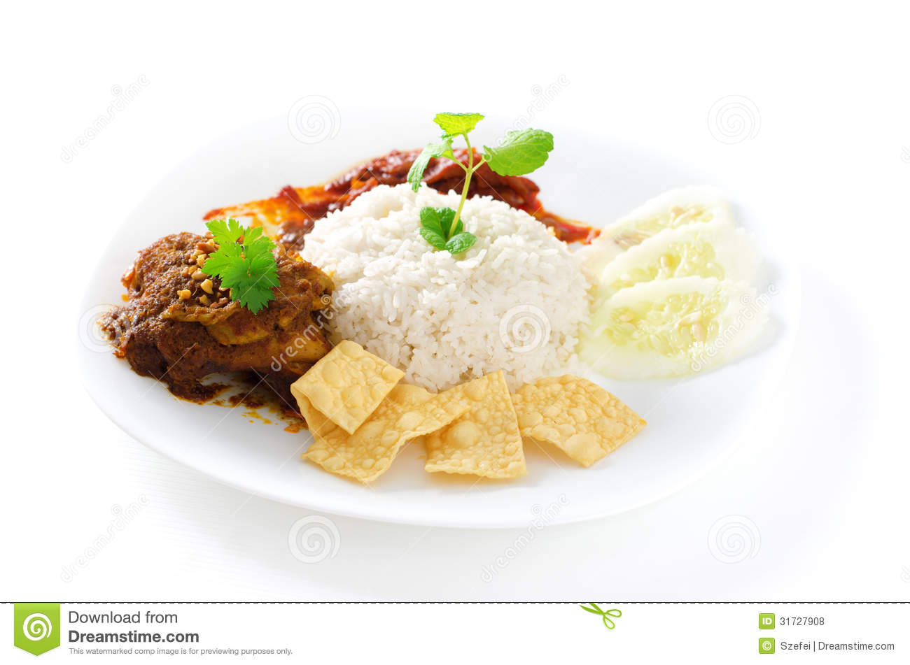 Nasi lemak royalty free stock photos image 31727908 for Authentic malaysian cuisine