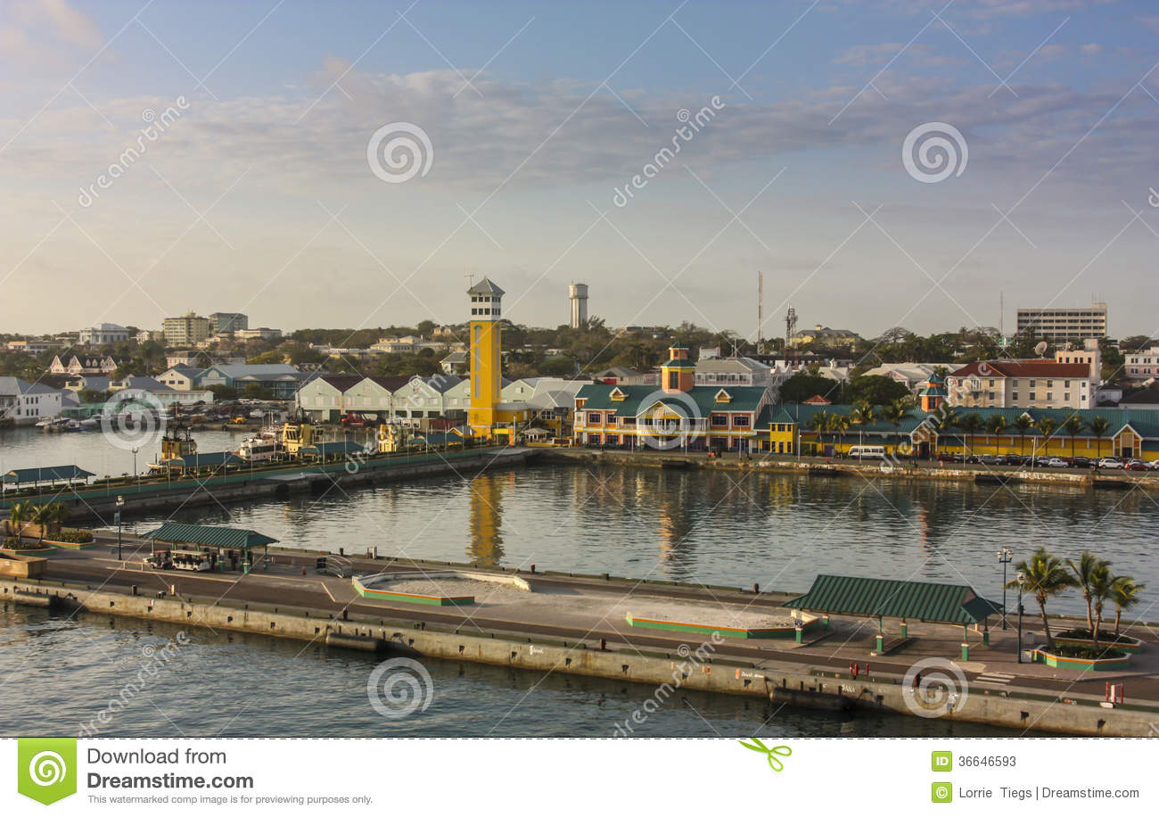 View of the port and cruise ship docks of nassau at sunrise with the