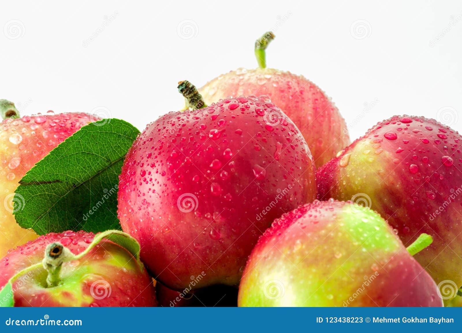 Nasse Äpfel der Nahaufnahme lokalisiert auf weißem Hintergrund