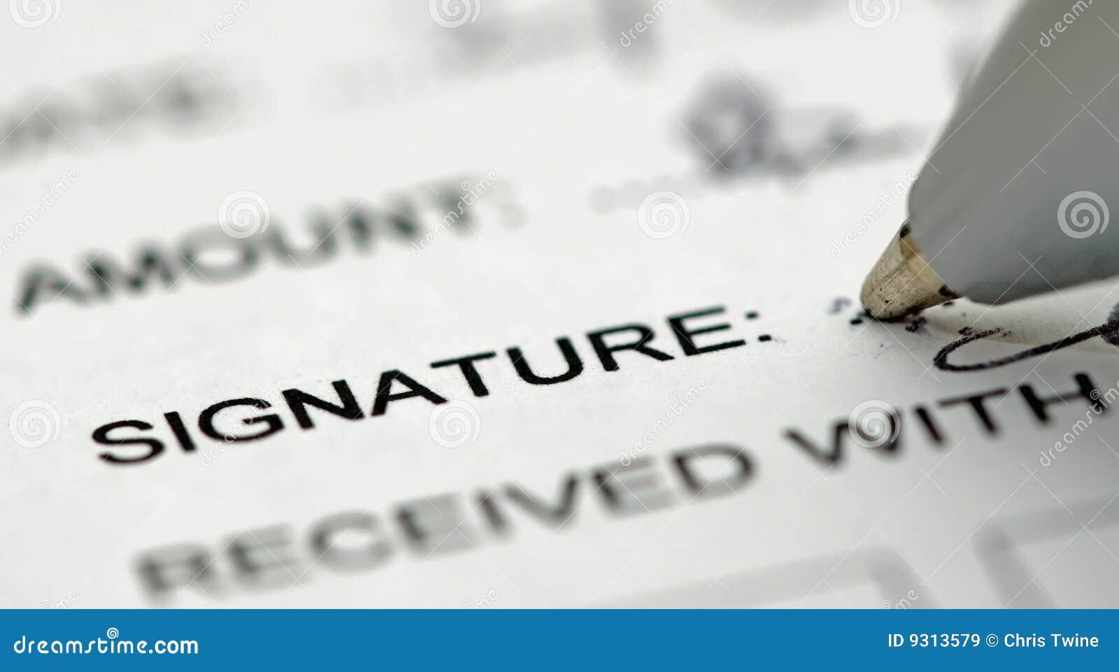 Następny pióra podpisu podpisywania tekst