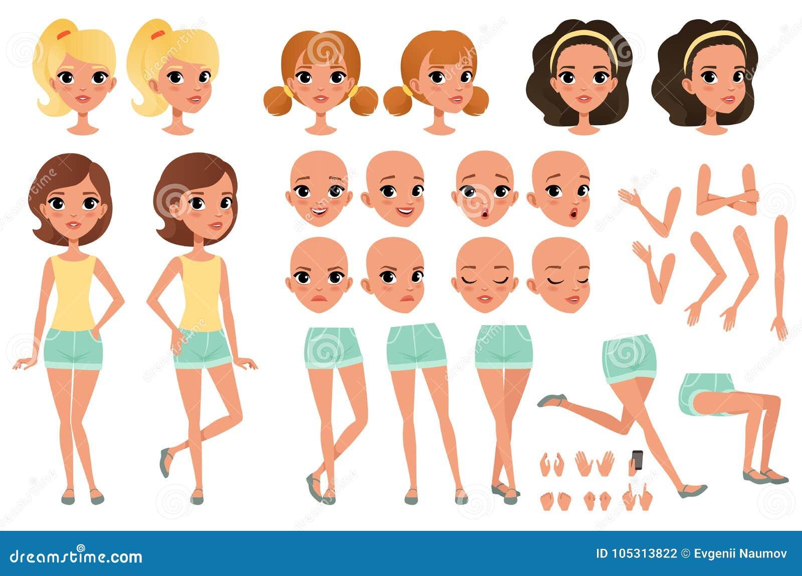 Nastolatek dziewczyny charakteru tworzenie ustawiający z różnorodnymi widokami, pozami, twarzy emocjami, ręka gestami i ostrzyżen