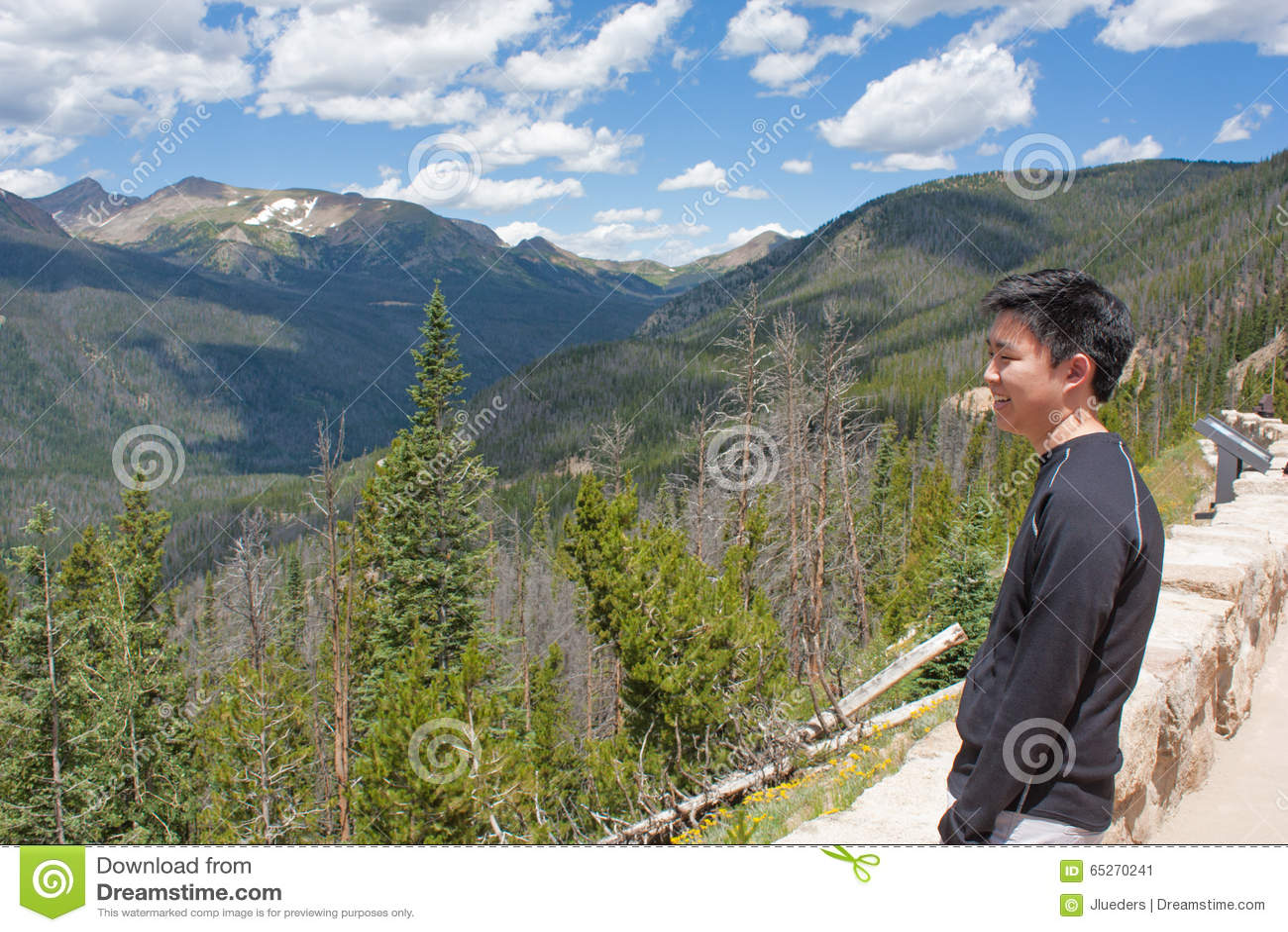 Nastoletni Chłopak Patrzeje góry
