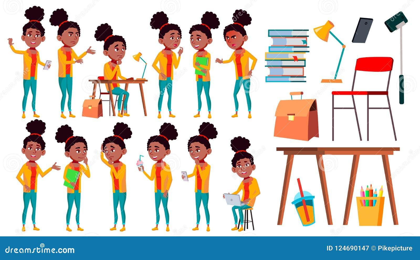 Nastoletnie pozy Ustawiający dziewczyna wektor Czas wolny, uśmiech czerń Afro amerykanin Dla sieci, broszurka, Plakatowy projekt