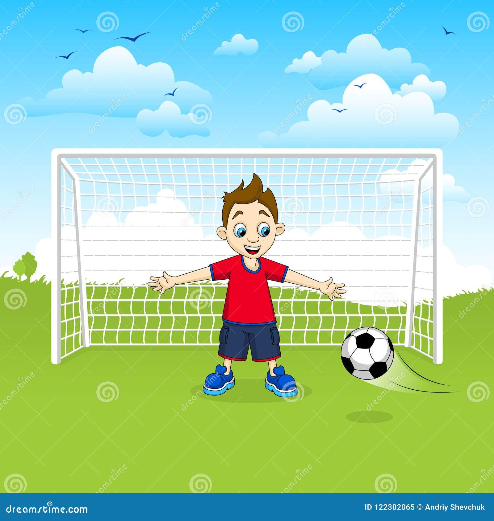 Nastoletniego chłopaka bramkarza piłki nożnej chwytająca piłka - wektorowa ilustracja
