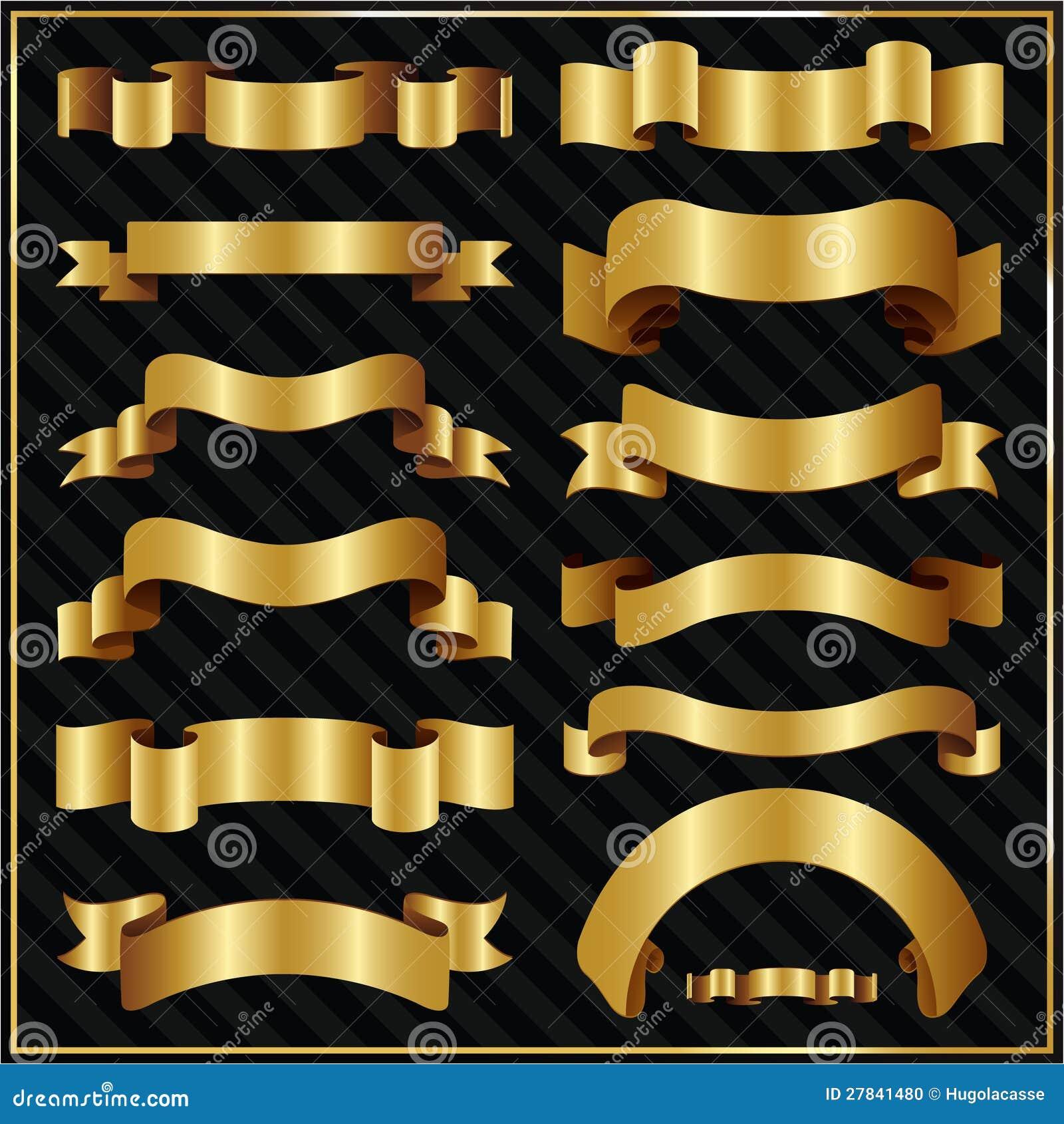Nastri decorati decorativi dell 39 oro illustrazione vettoriale illustrazione di illustrazione - Nastri decorativi natalizi ...