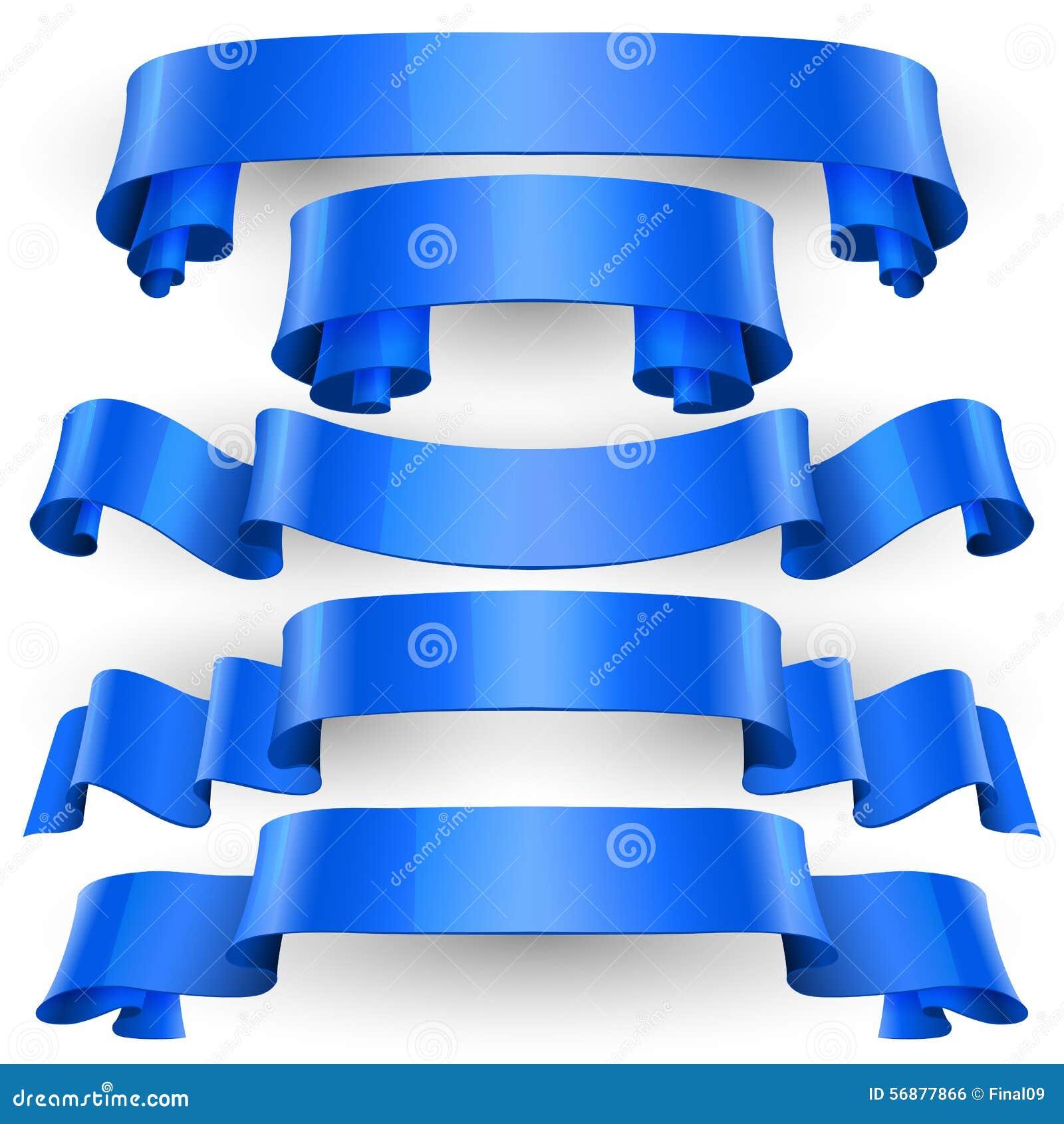 Nastri lucidi blu di vettore messi