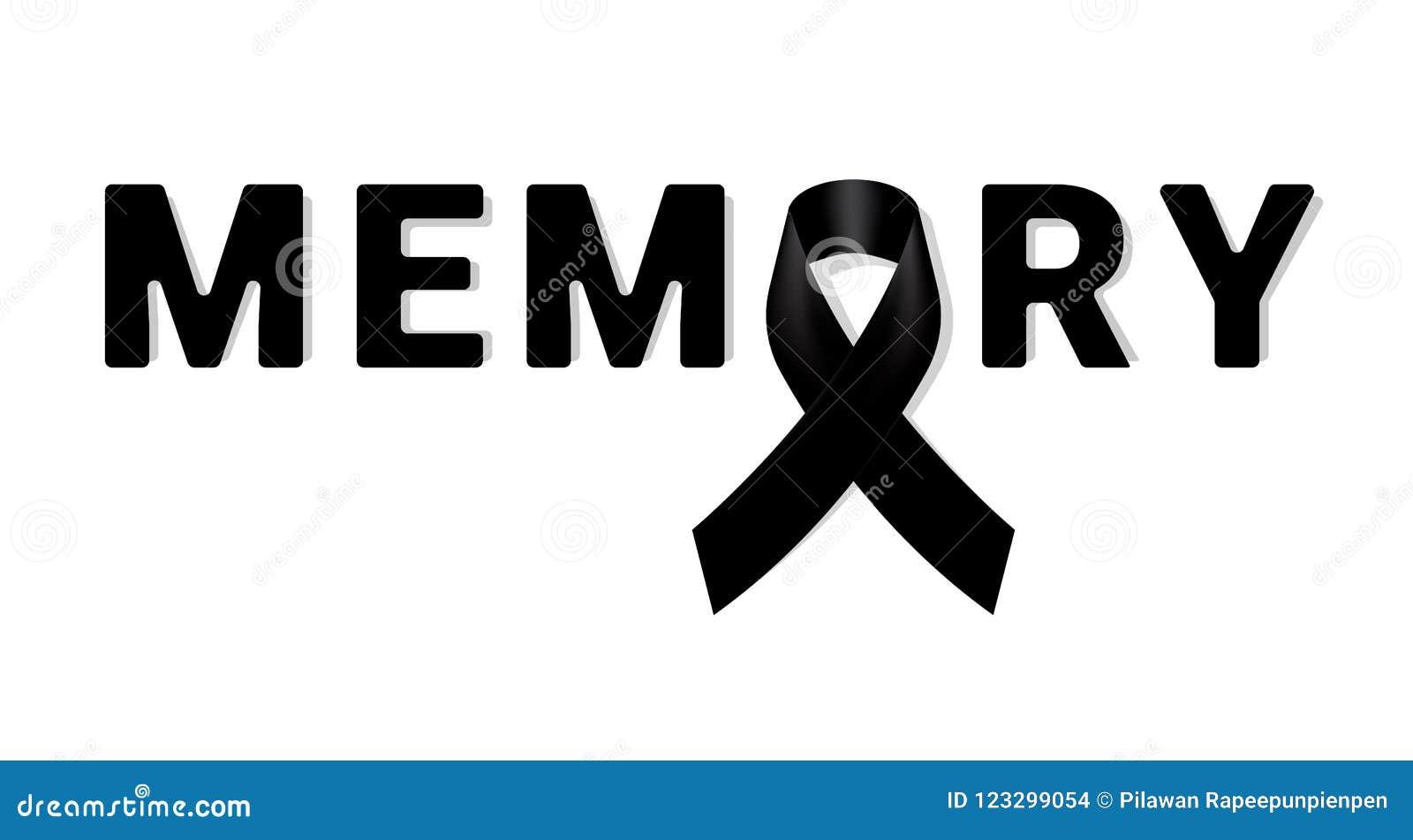 Nastro nero di consapevolezza di memoria su fondo bianco Simbolo di dolore Fondo funereo del nastro del nero della carta dello ST
