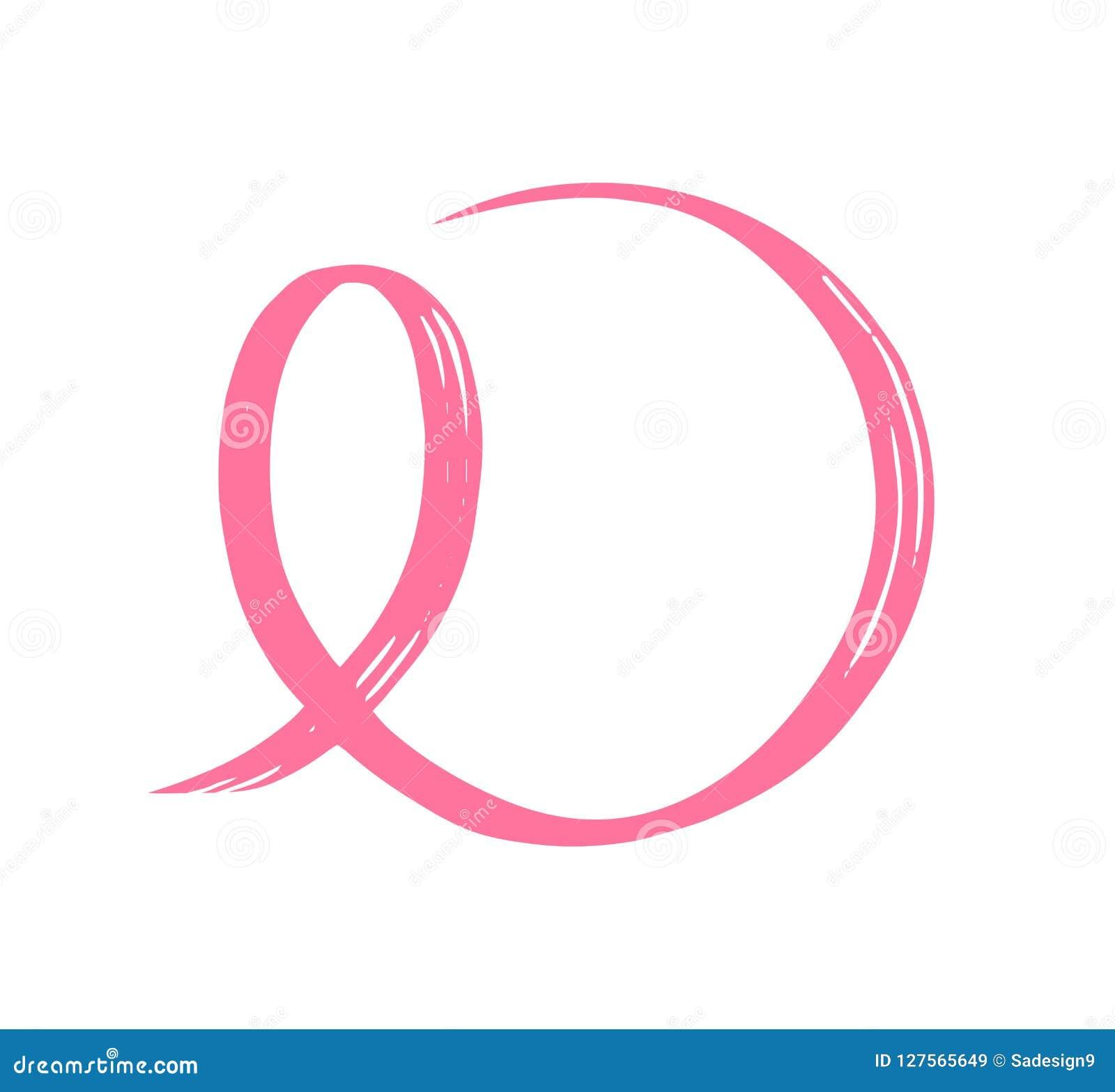 Nastro rosa disegnato a mano Simbolo della lotta contro cancro al seno