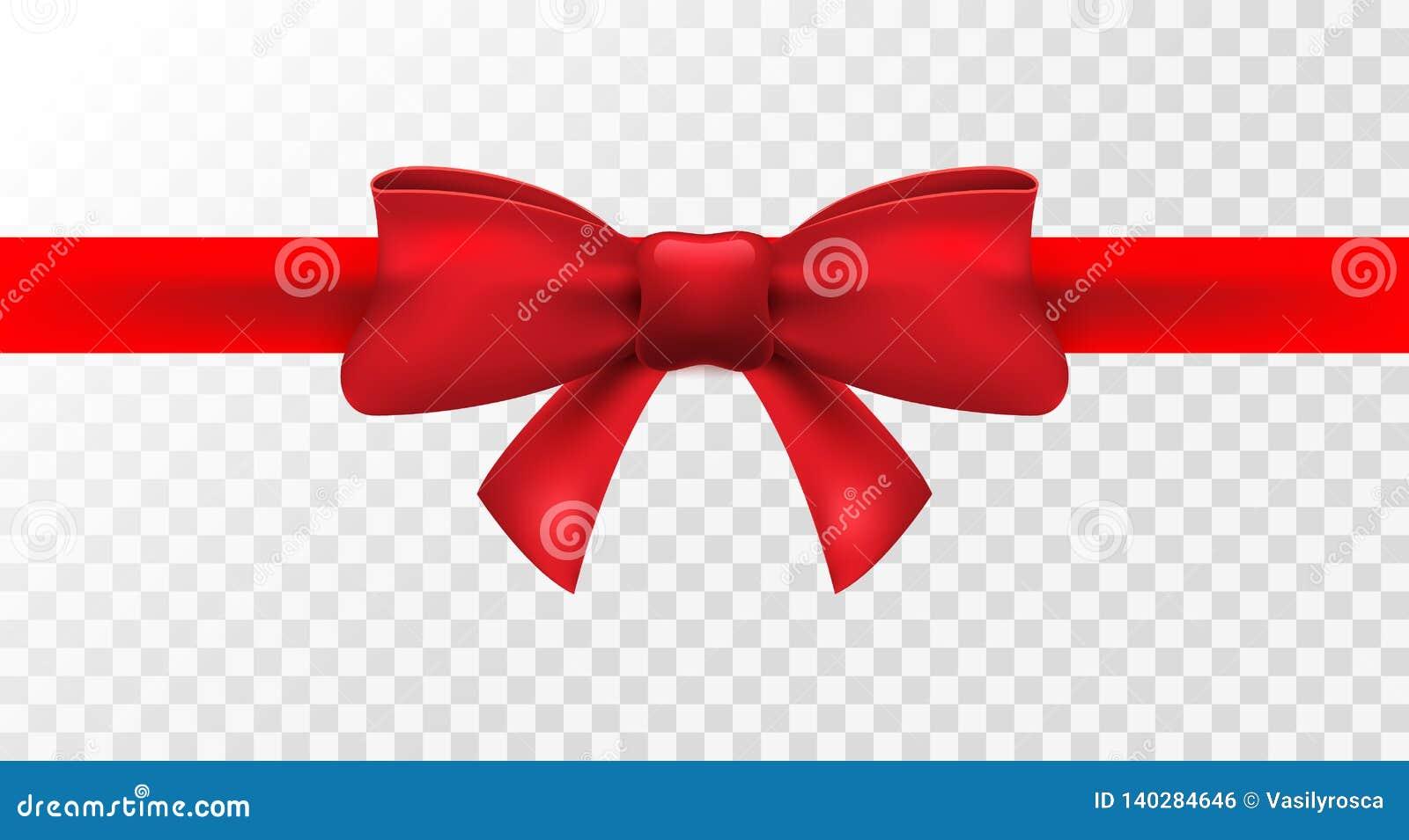Nastro rosso con l arco rosso Decorazione dell arco isolata vettore per il presente di festa Elemento del regalo per progettazion