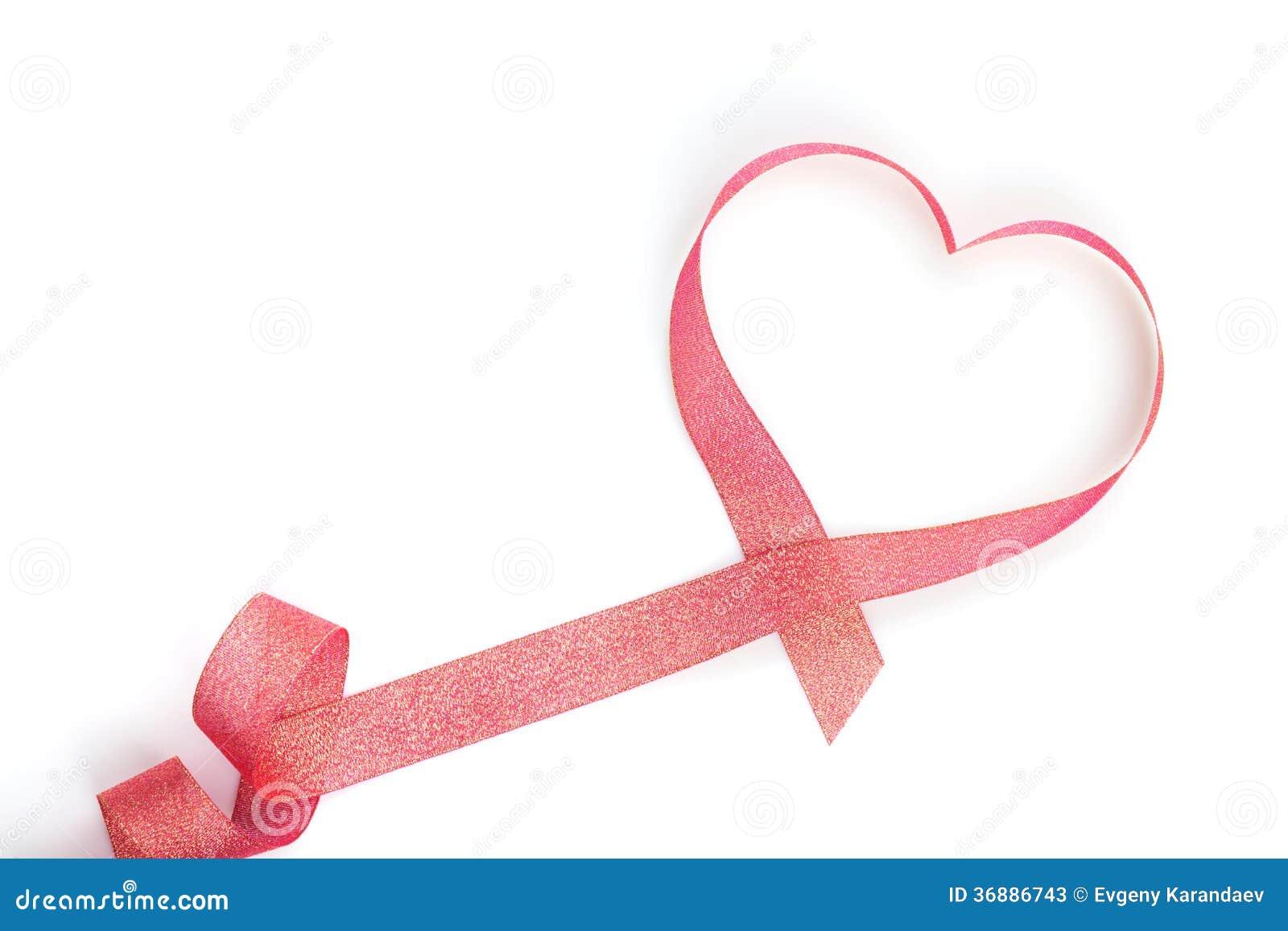 Download Nastro Rosso A Forma Di Del Cuore Di San Valentino Immagine Stock - Immagine di arco, passione: 36886743
