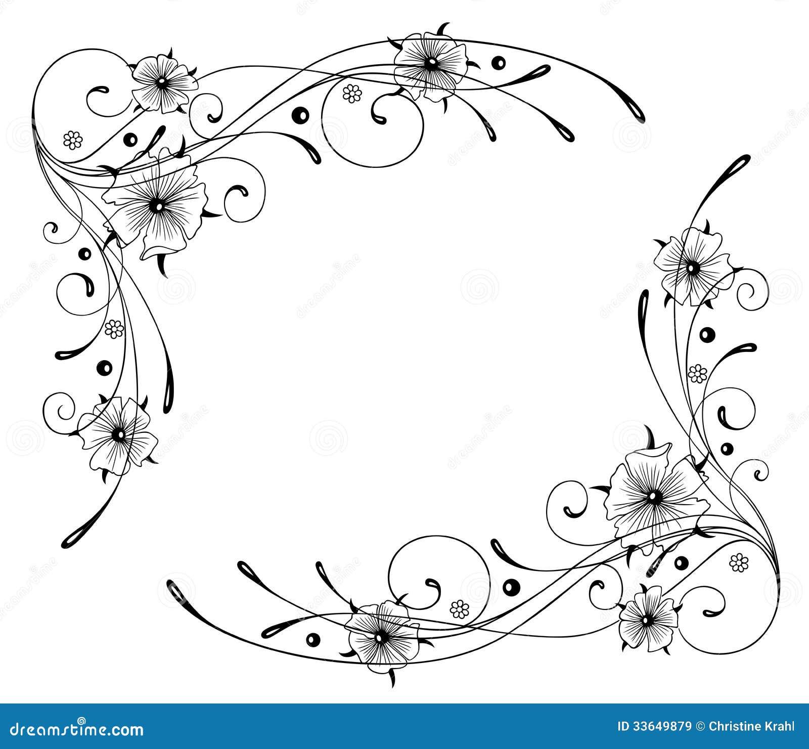 Flower Frame Line Drawing : Nasturtium flowers frame stock vector illustration of