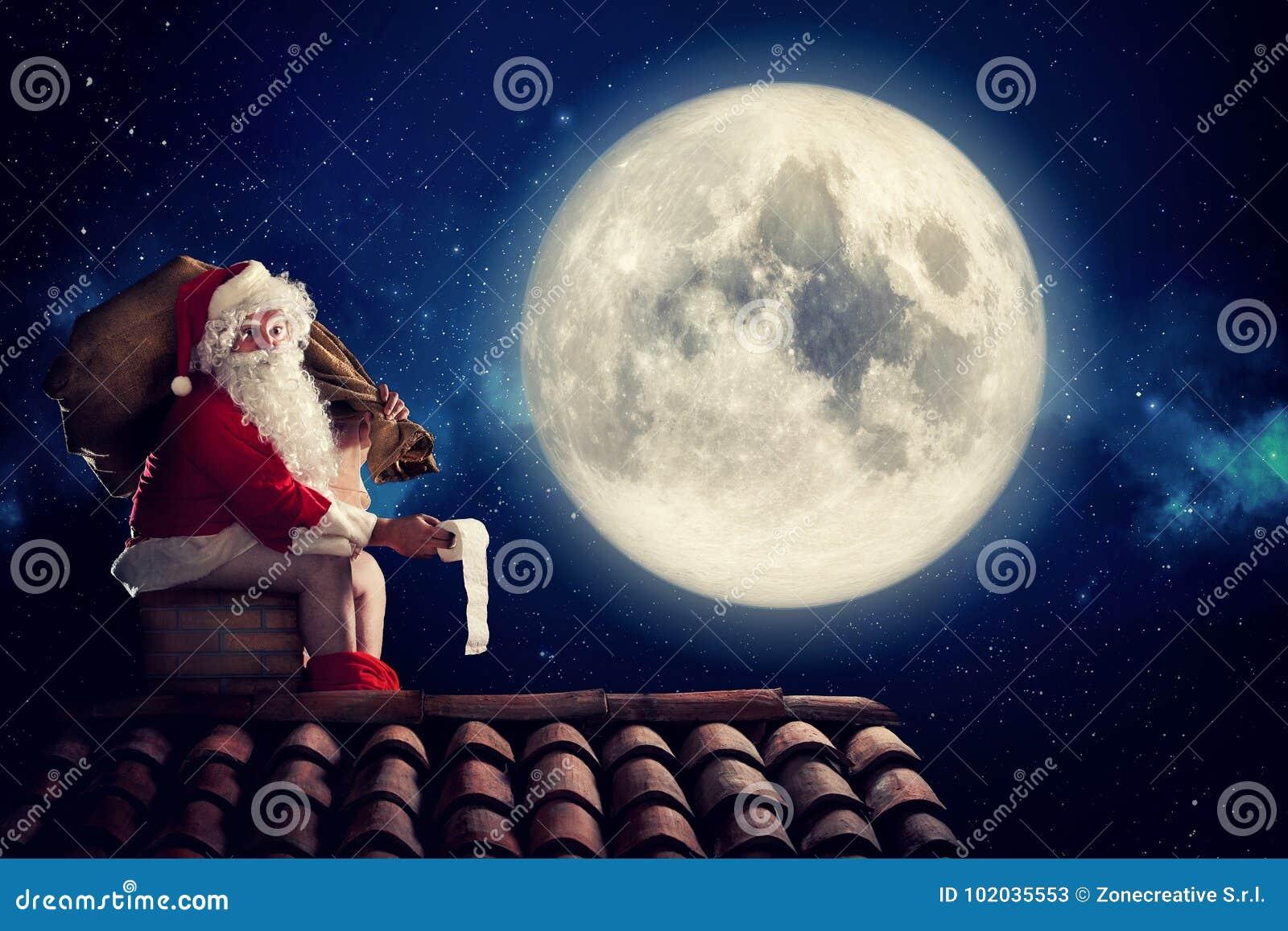 Nasty Santa Claus Poop In A Chimney Under Moonlight As Bad Children