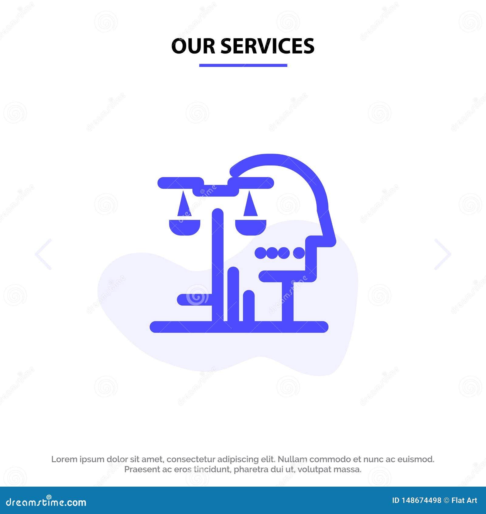 Nasz usługa wybór, sąd, istota ludzka, osądzenie, prawo glifu ikony sieci karty Stały szablon