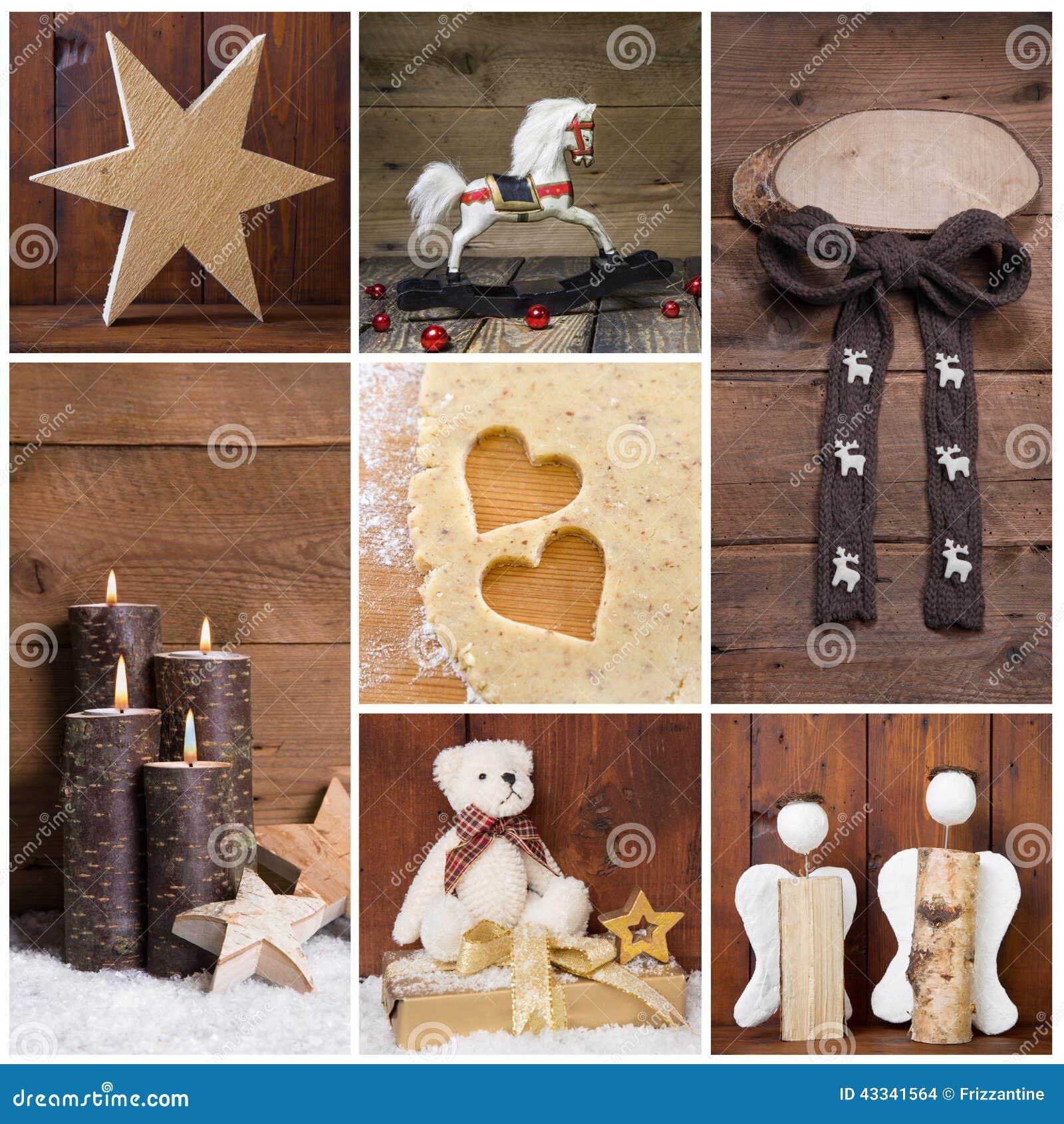 Download Natürliche Weihnachtsdekoration Mit Holz Verschiedene Gegenstände  Im Squ Stockfoto   Bild Von Land, Geschnitzt