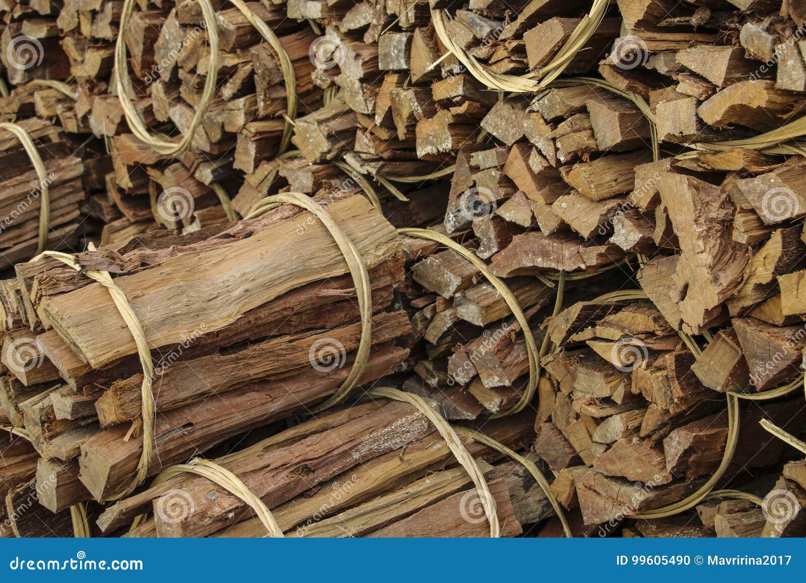 Prächtig Natürlicher Hölzerner Hintergrund, Brennholz Sind In Den Bündeln @TG_48
