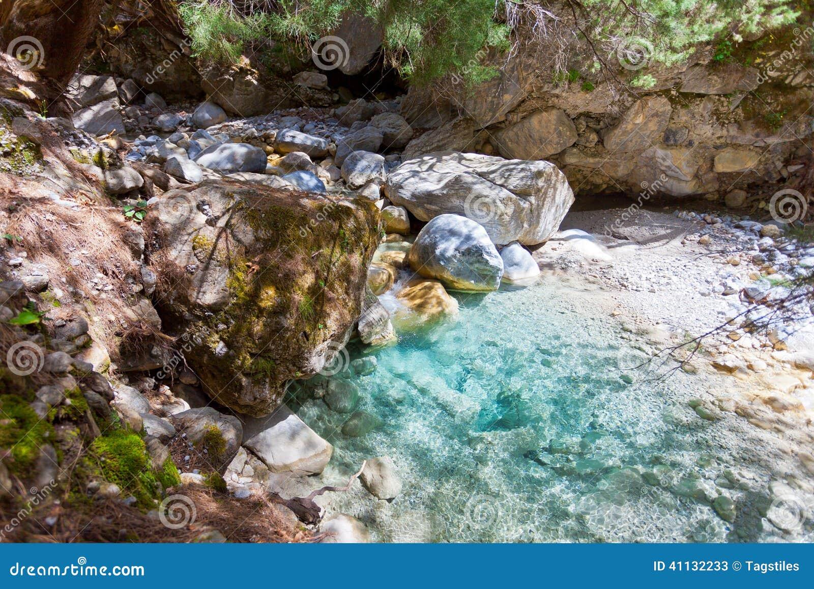 Download Natürliches Pool Innerhalb Samaria Gorges Stockbild - Bild von freiheit, intakt: 41132233