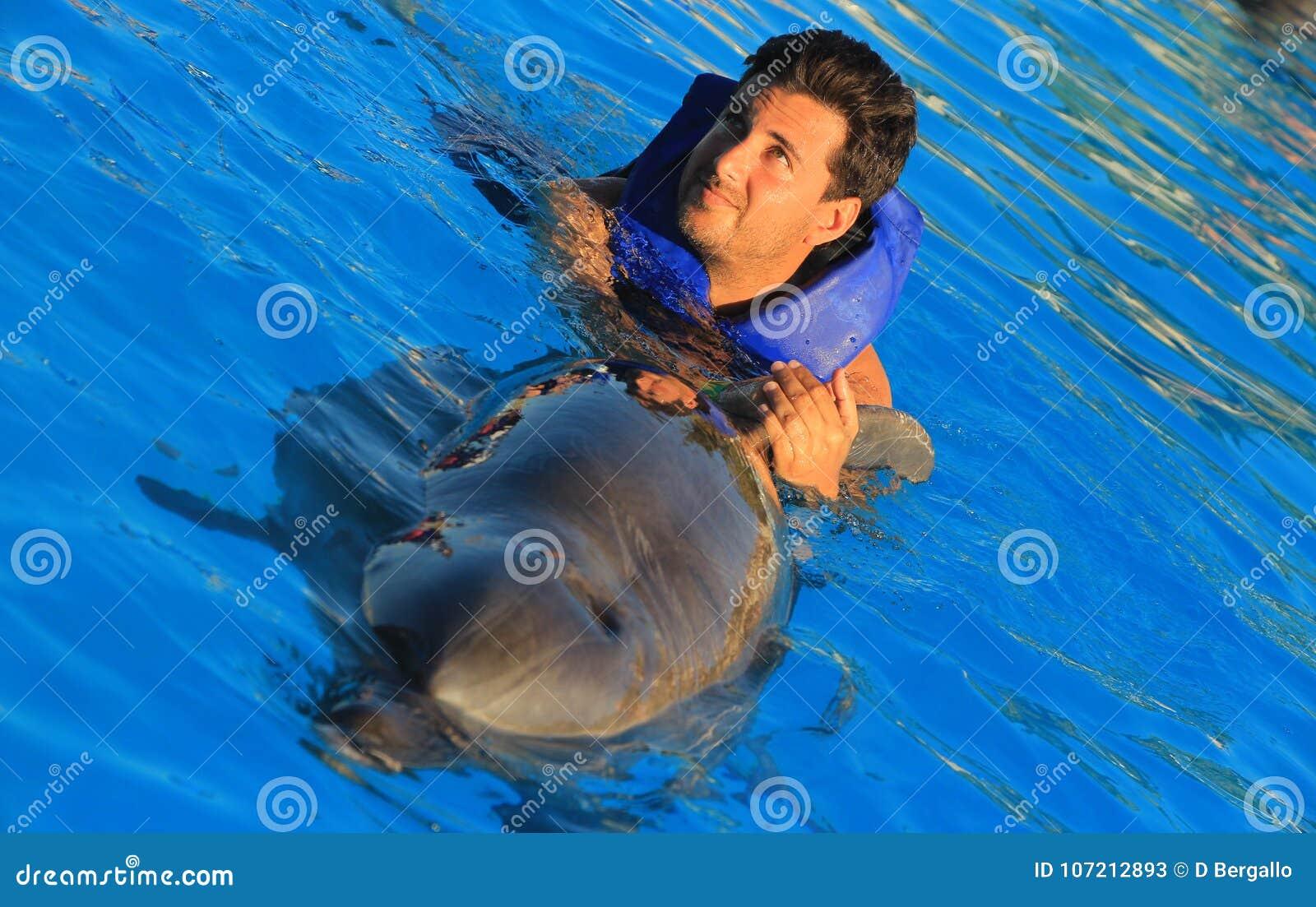 Natação do homem dos olhos verdes com os golfinhos felizes de sorriso de um nariz da garrafa da nadada da criança da cara da alet