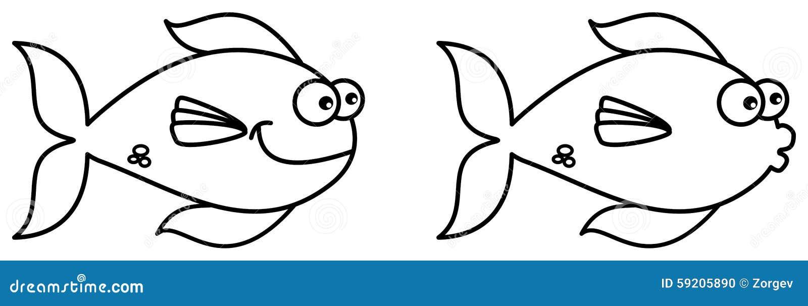 Natación De Los Pescados Para Colorear Stock De Ilustración
