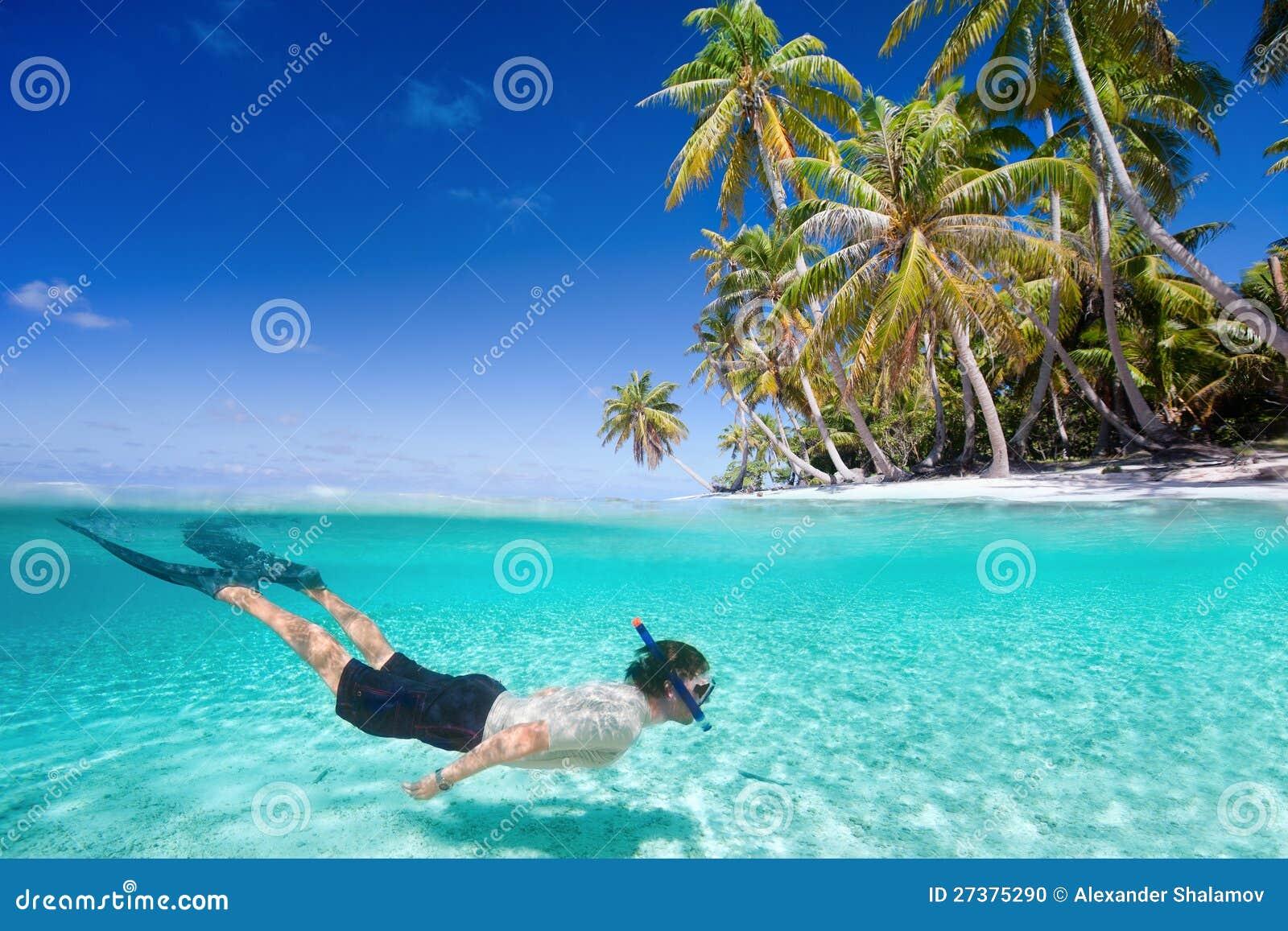 Natación del hombre subacuática