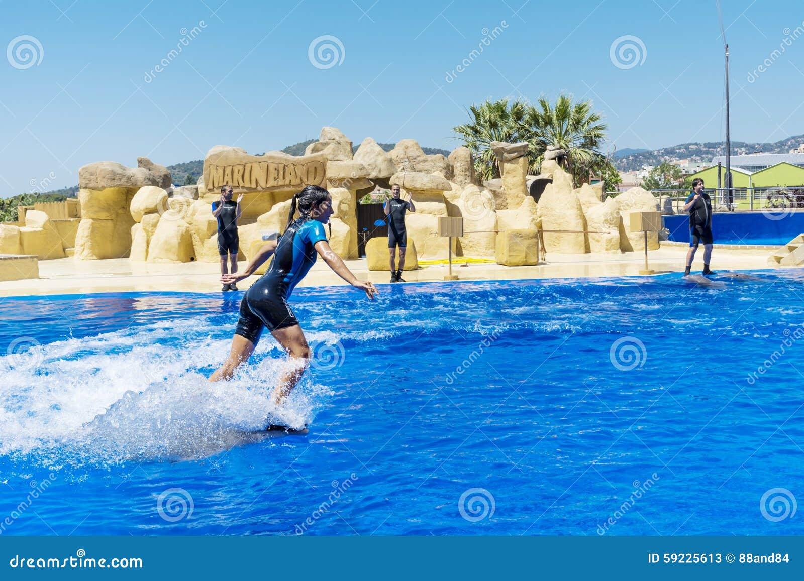 Download Natación Del Instructor De La Mujer Con Los Delfínes Foto de archivo editorial - Imagen de disfrute, acuario: 59225613