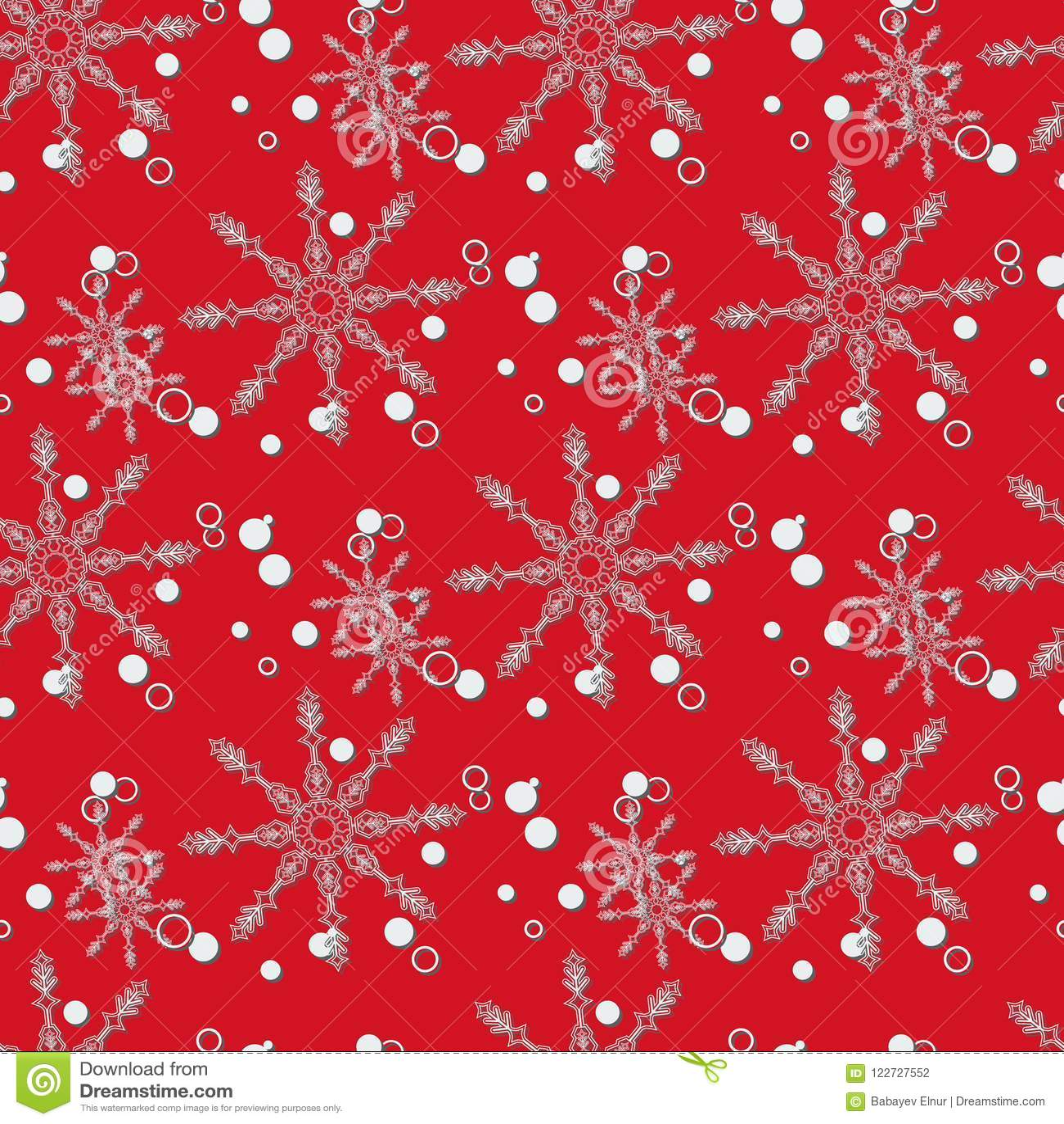 Natal abstrato e ano novo sem emenda no fundo vermelho Teste padrão do floco de neve Ilustração Eps 10 do vetor