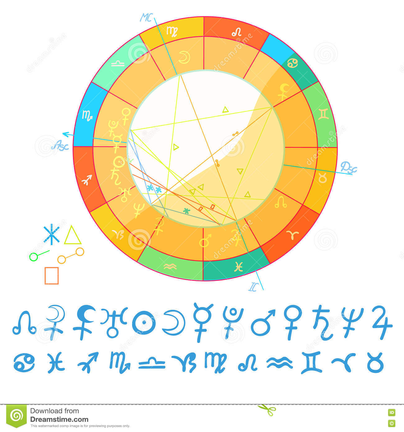 Natal Astrological Chart Zodiac Signs Vector Illustration