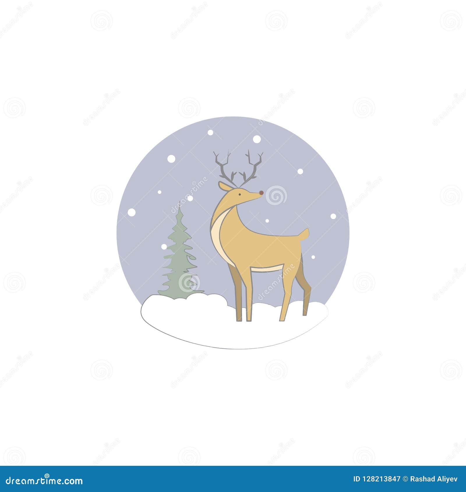 Natal, cervo, ícone da rena Elemento do Natal para apps móveis do conceito e da Web Natal colorido, cervo, illustrati da rena