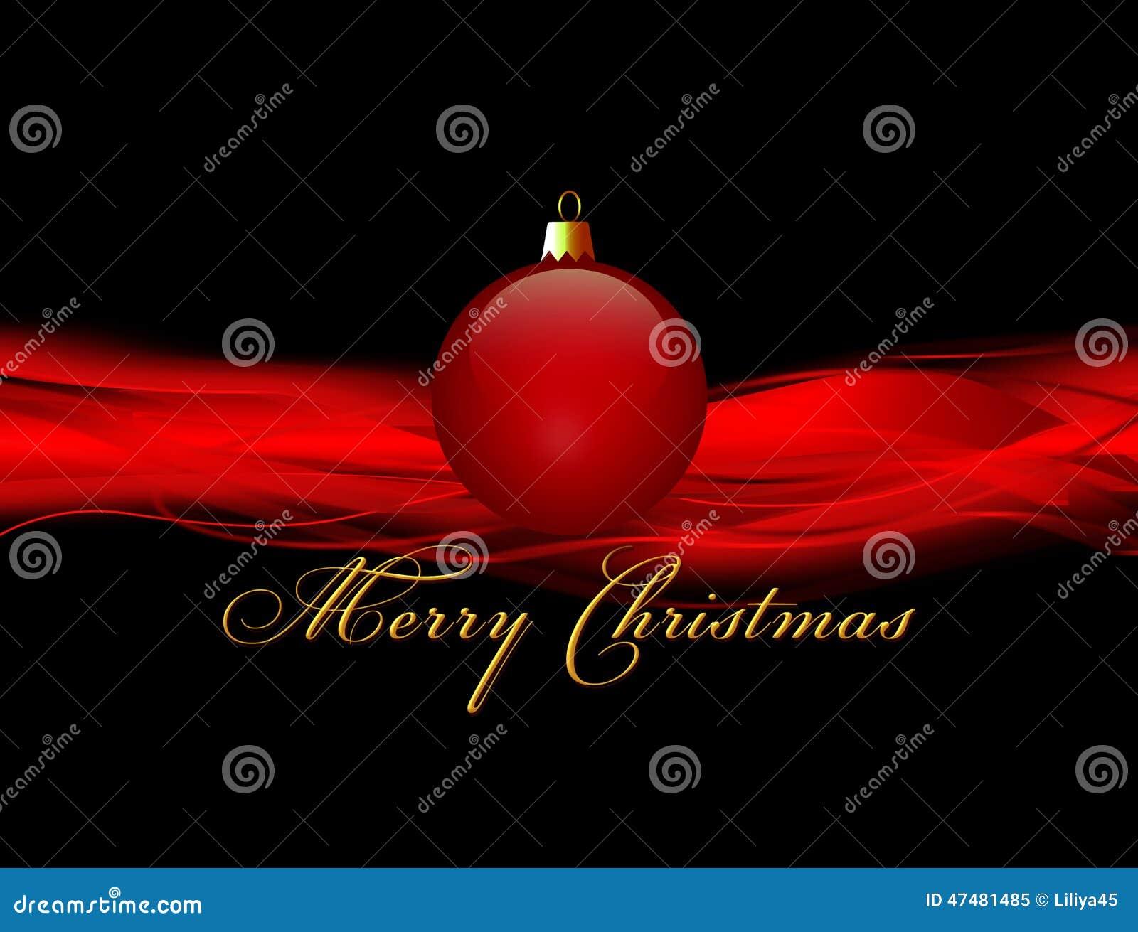 Natal com a bola vermelha no fundo preto