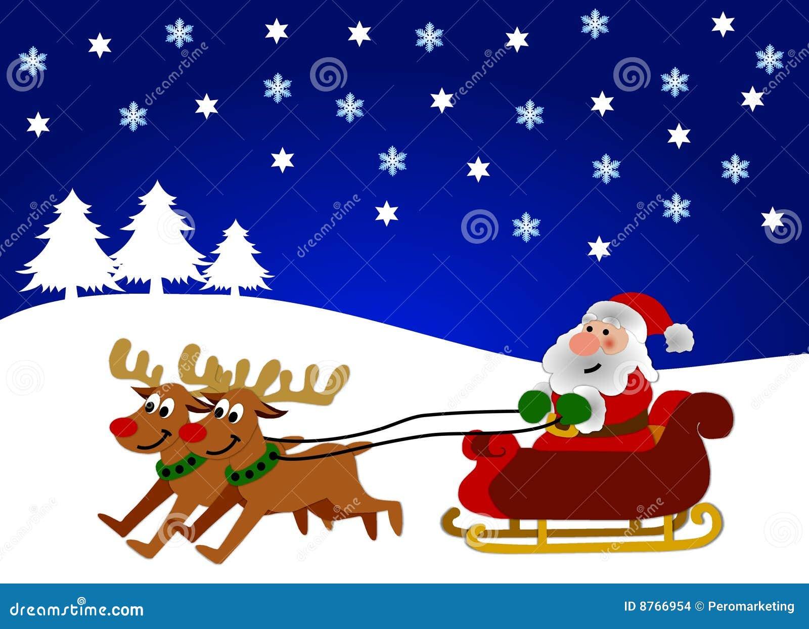 Natal Do Pai No Trenó Ilustração Stock Ilustração De Santa