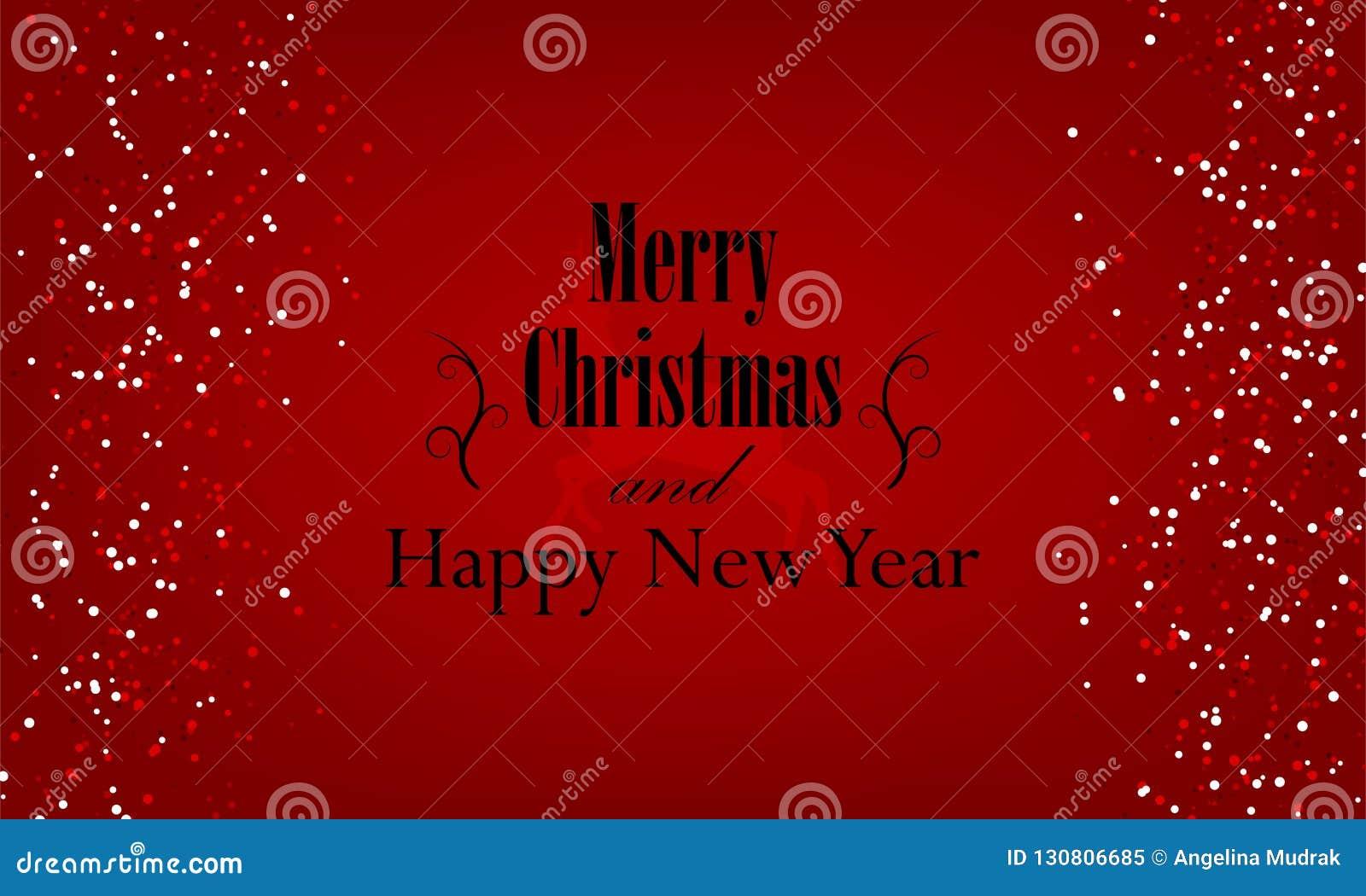 Natal e ano novo tipográficos no fundo vermelho com textura do brilho do ouro