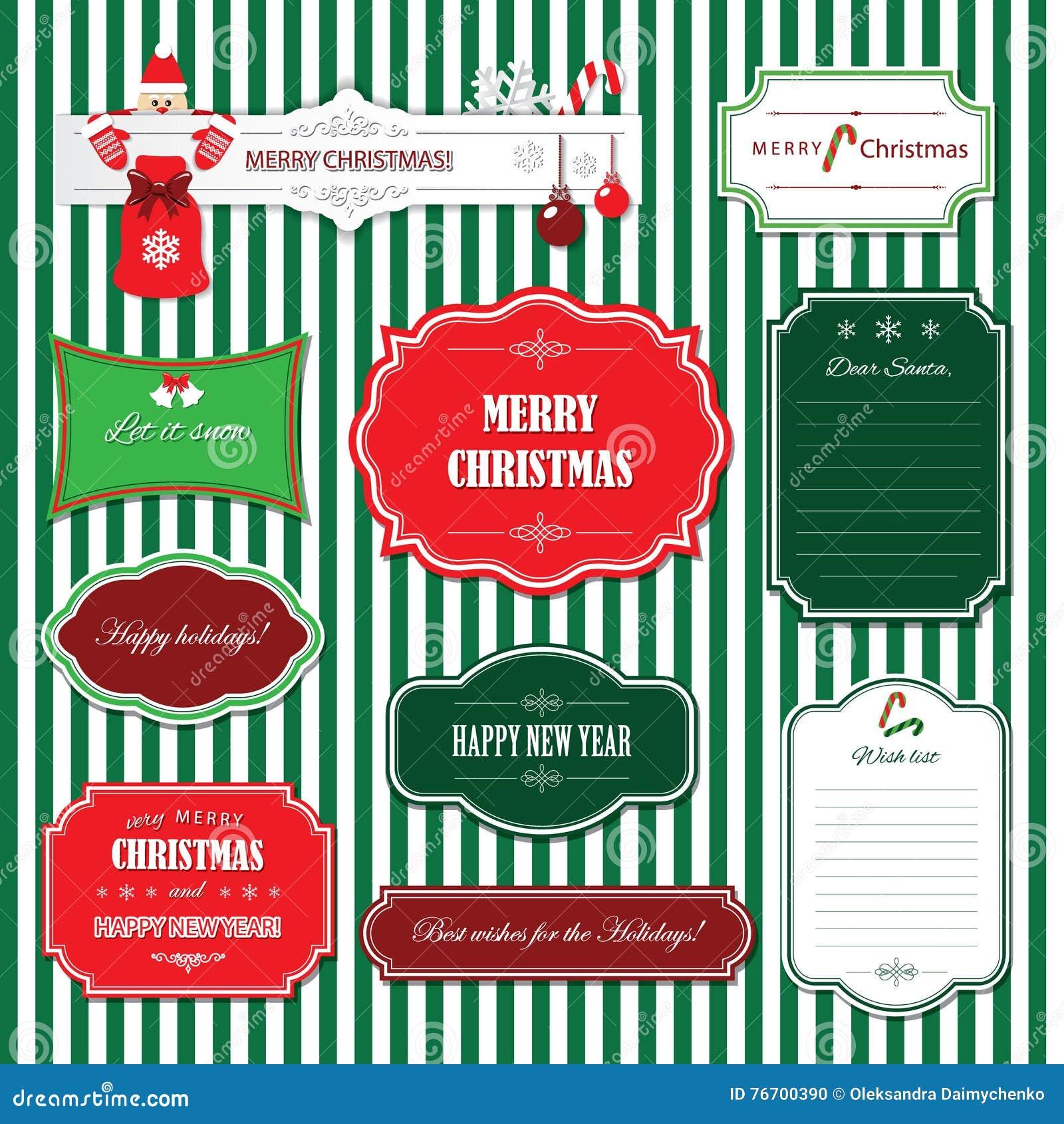 Natal e quadros e bandeiras do ano novo feliz