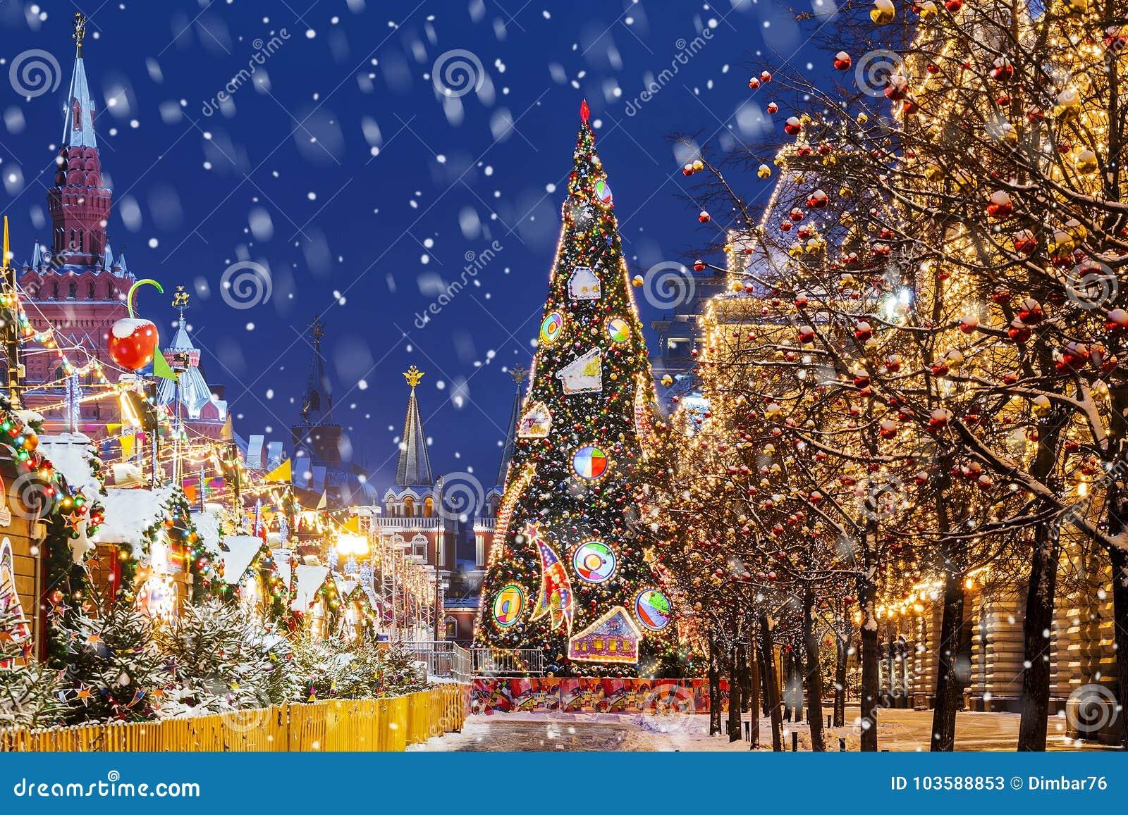 Natal em Moscovo Árvore de Natal no quadrado vermelho
