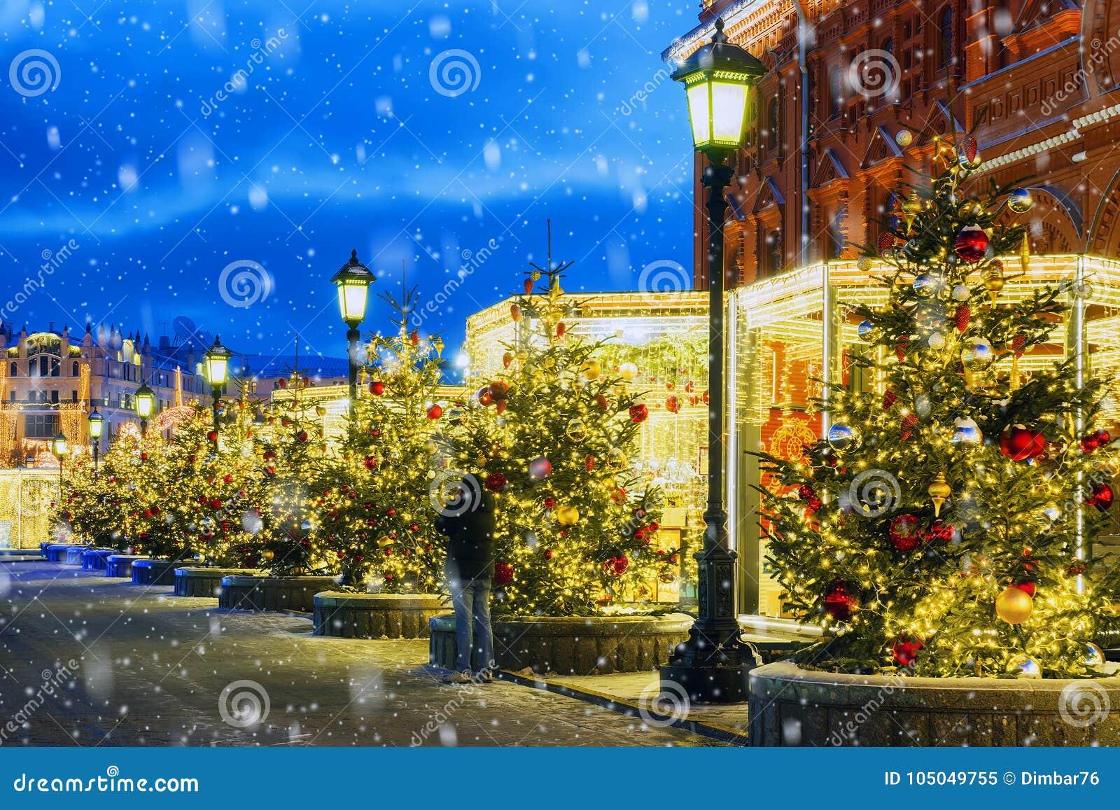 Natal em Moscovo Ruas festiva decoradas de Moscou