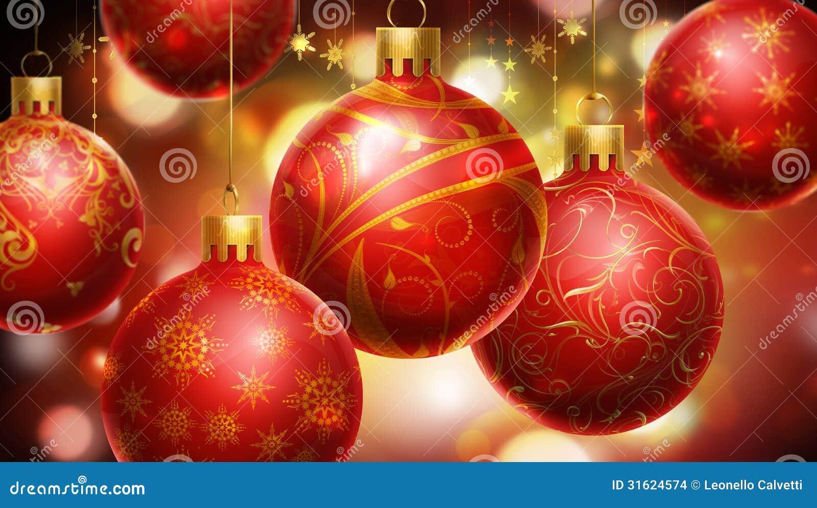 Natal fundo abstrato vermelho amarelo com as bolas - Bolas de navidad grandes ...