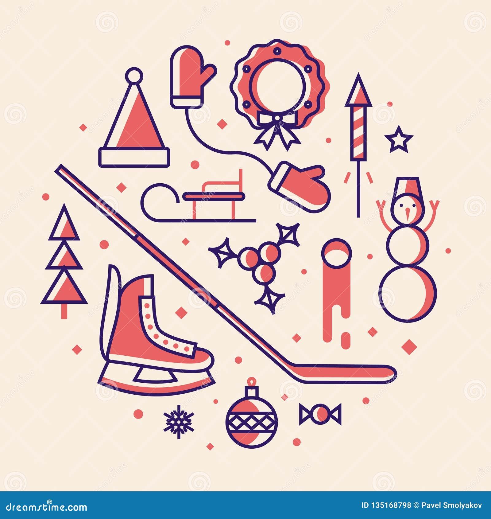 Natal, ilustração do vetor, grupo do ícone do esboço: chapéu de Santa Claus, mitenes, árvore do xmas, patins, bola do Natal, doce