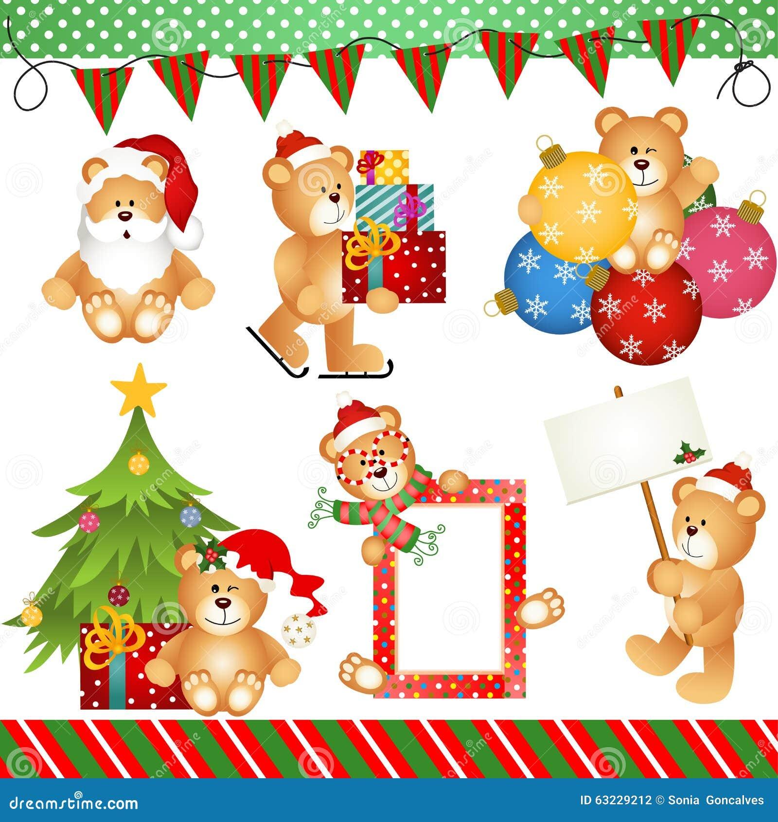 Natal Teddy Bear Clipart Digital
