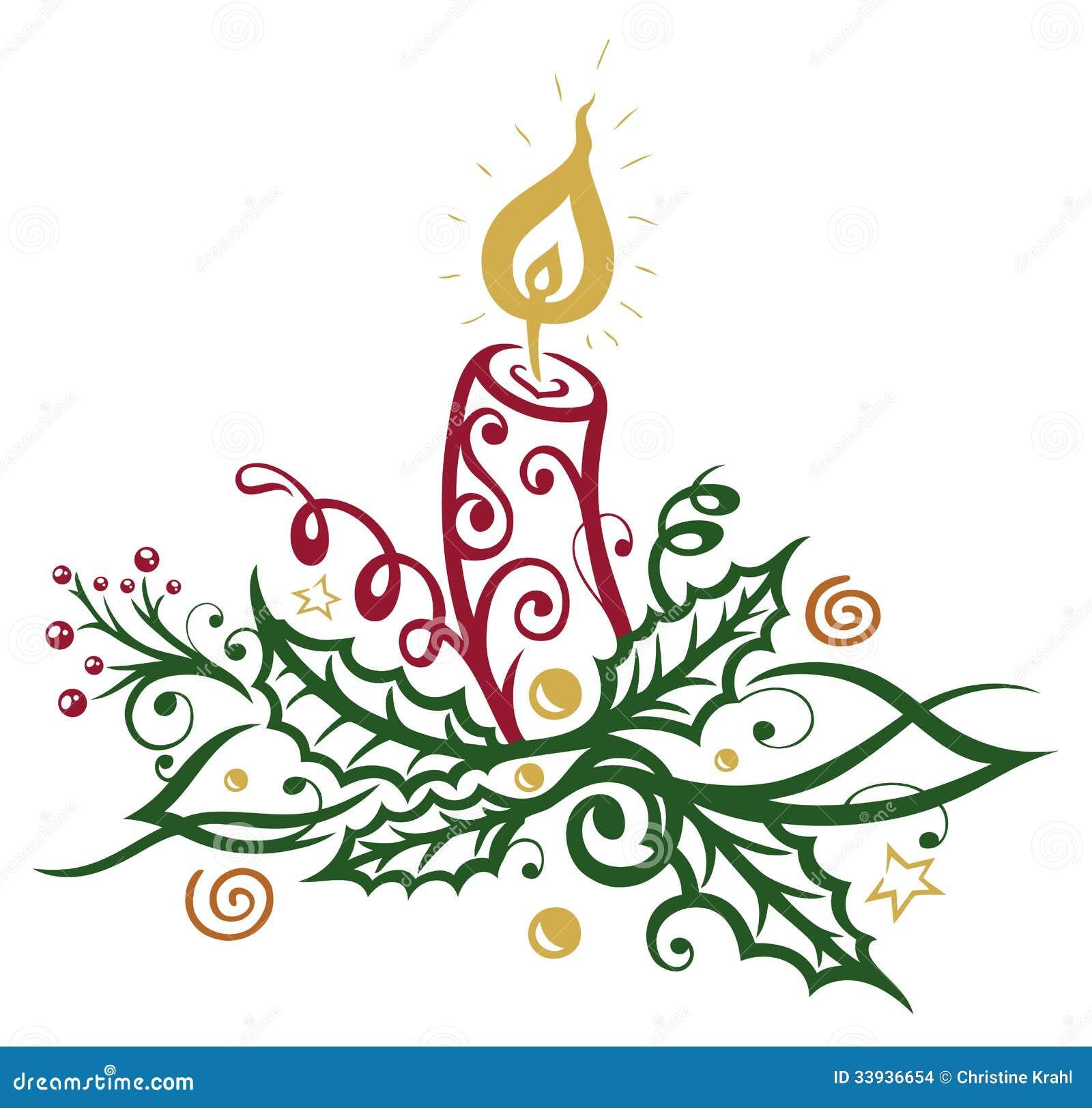 Natale agrifoglio candela illustrazione vettoriale illustrazione di luci saluti 33936654 - Grafik weihnachten kostenlos ...