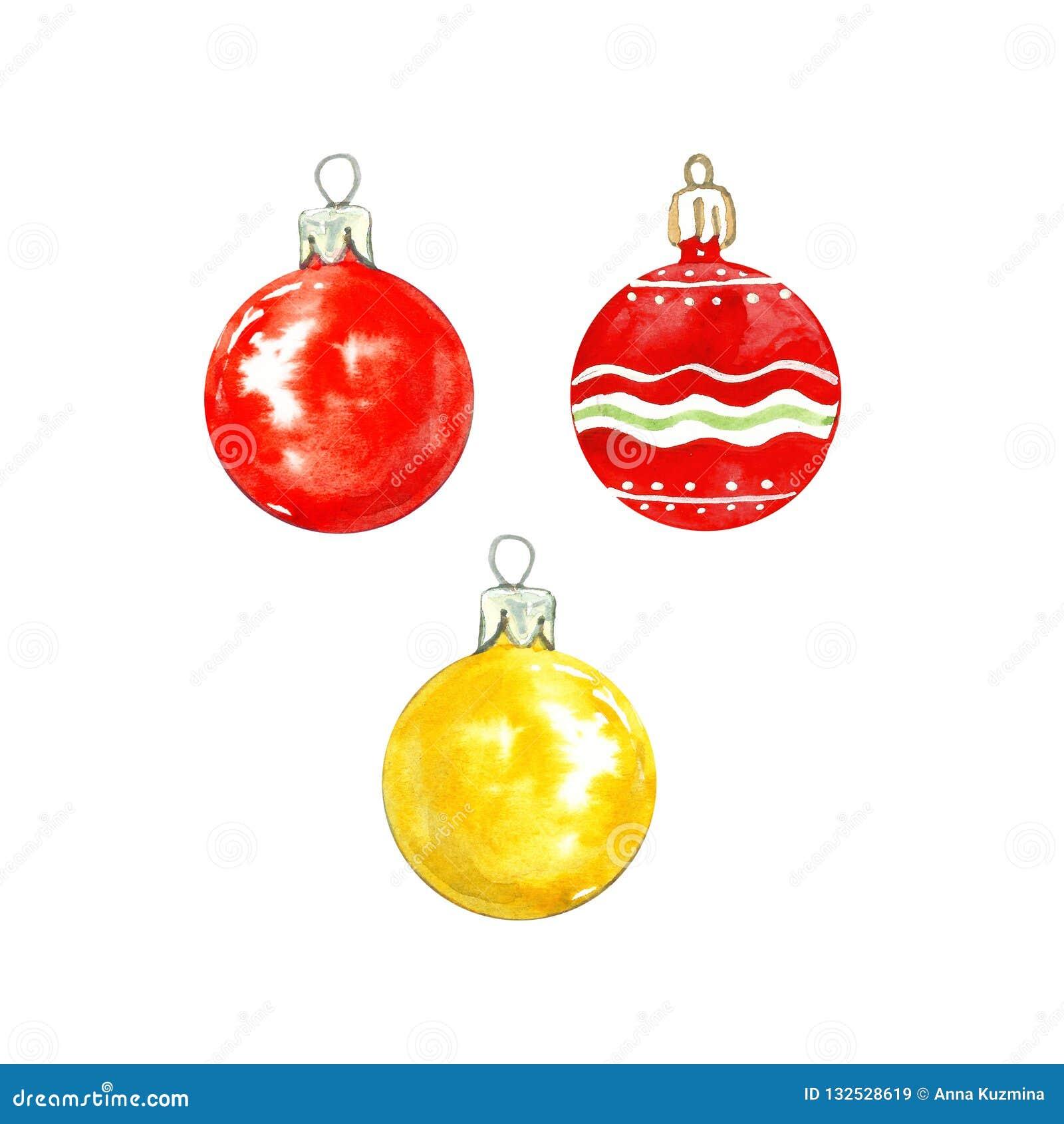 Natale dell acquerello fissato con le bagattelle di vetro assortite isolate su fondo bianco Decorazioni festive dell albero di Na