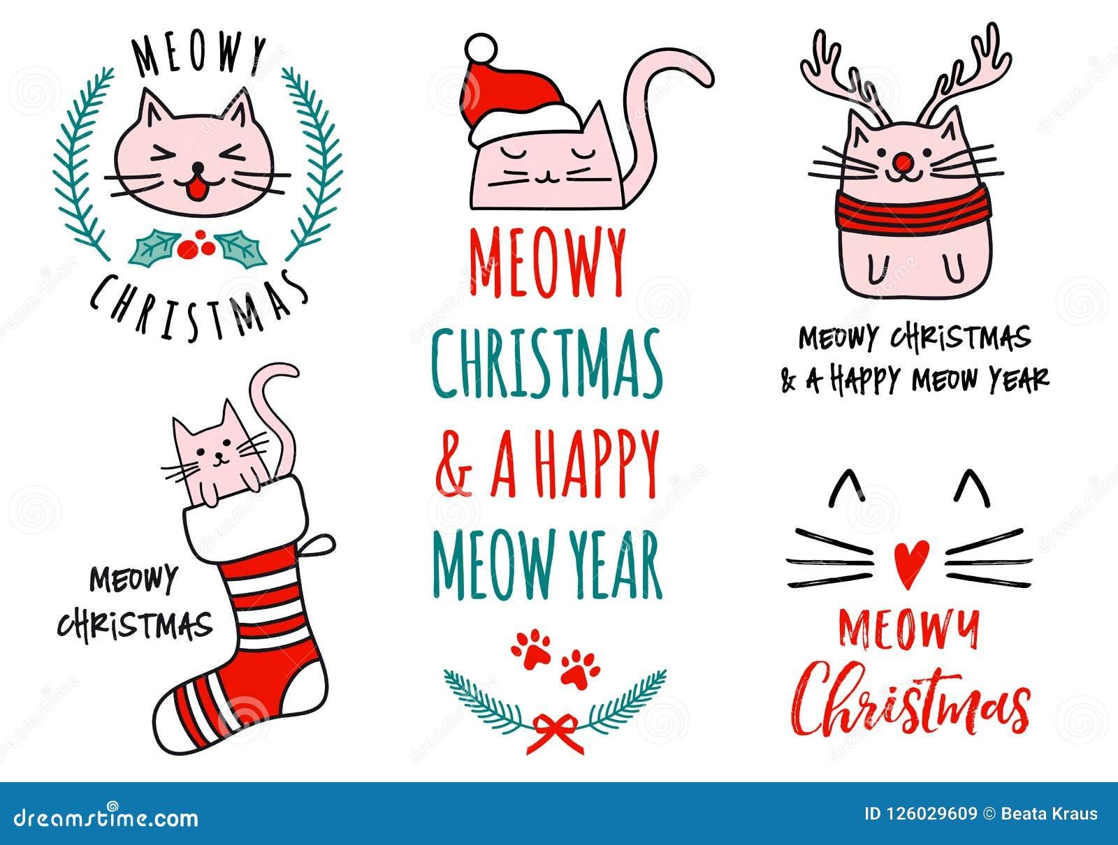 Natale di Meowy con i gatti svegli, insieme di vettore