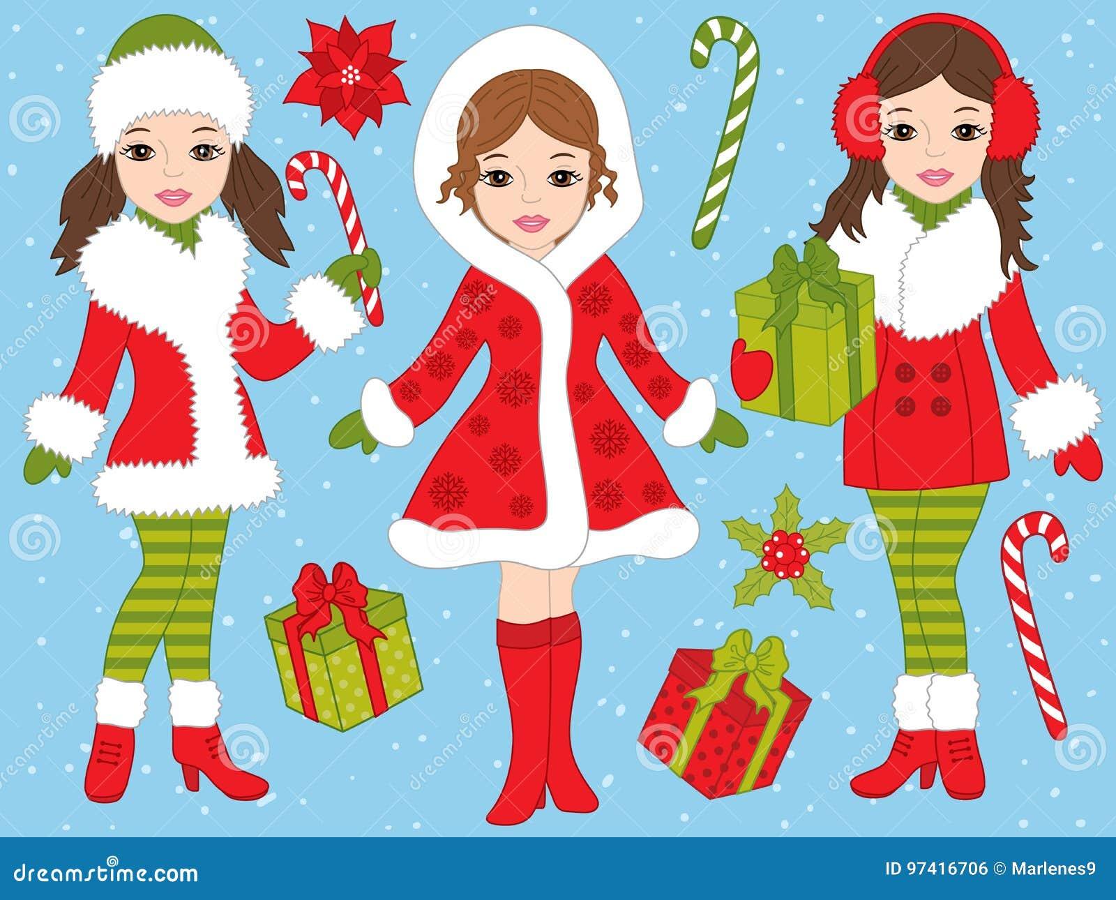 Natale Di Vettore Fissato Con Le Belle Ragazze Ed I Regali Di Natale