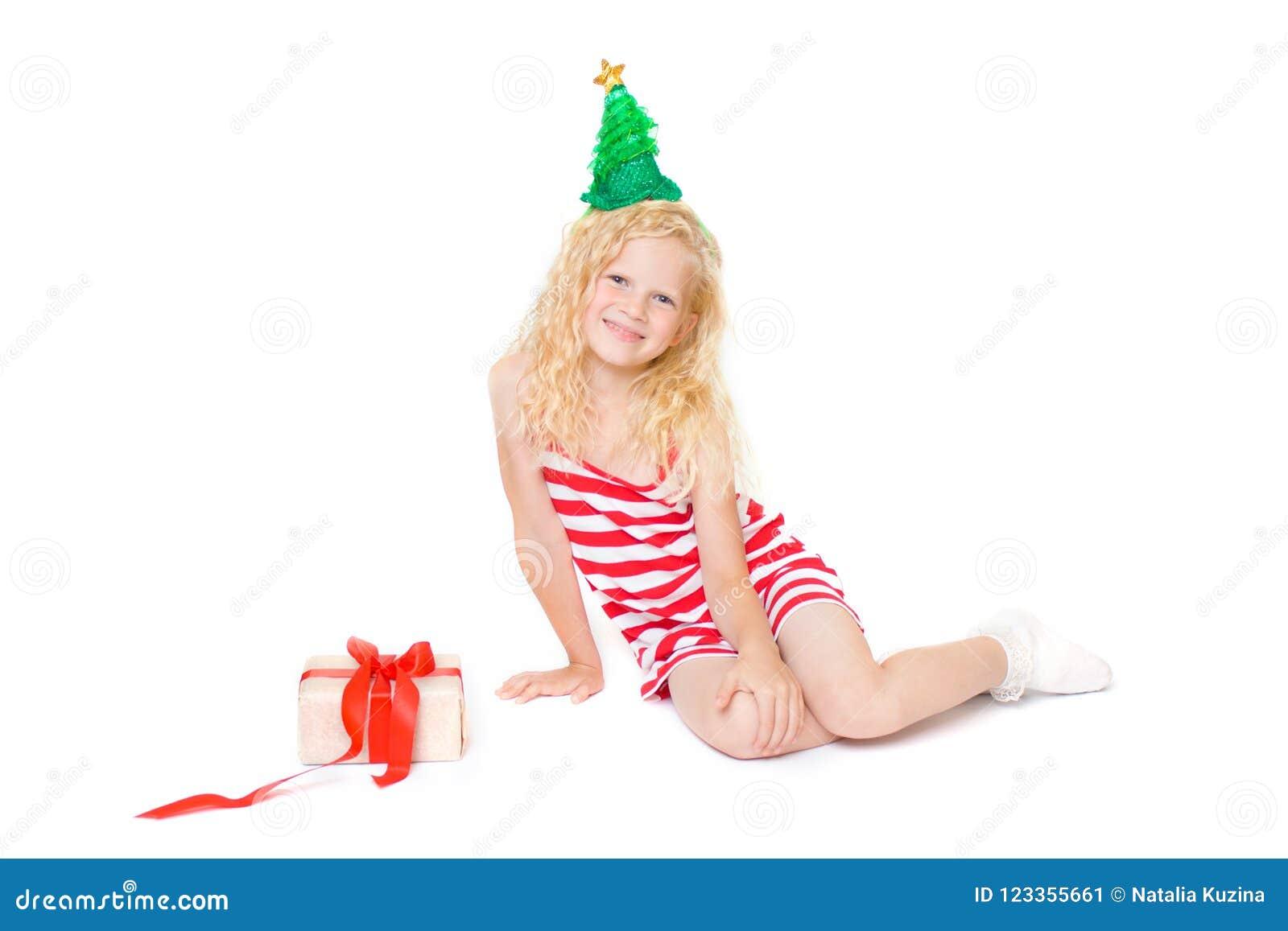 Natale E Carta Del Nuovo Anno Con La Piccola Ragazza Bionda