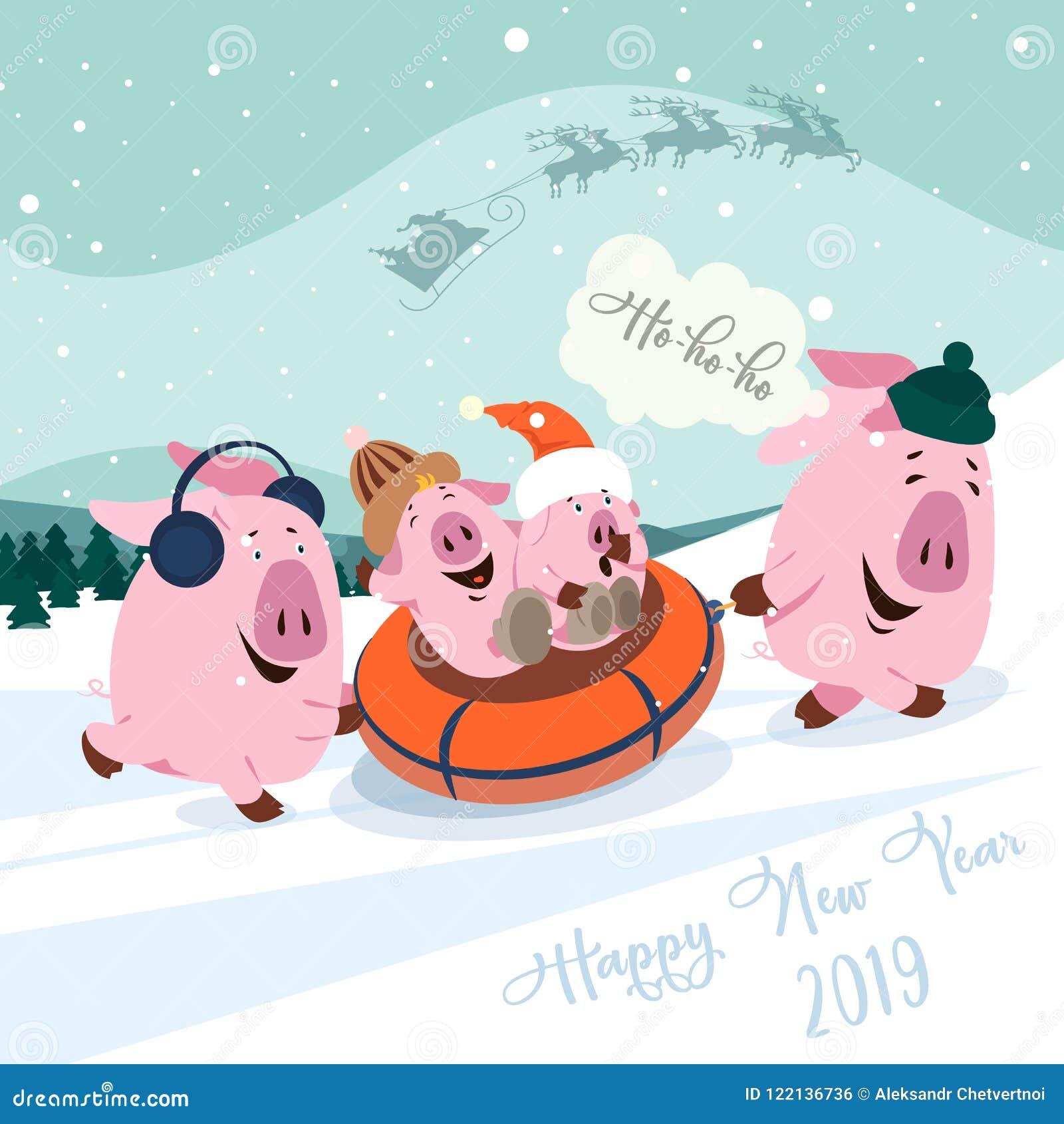 Natale fissato di piccoli maiali svegli Simbolo di nuovo anno Vector l illustrazione di un simbolo del maiale-un di nuovo 2019 ci