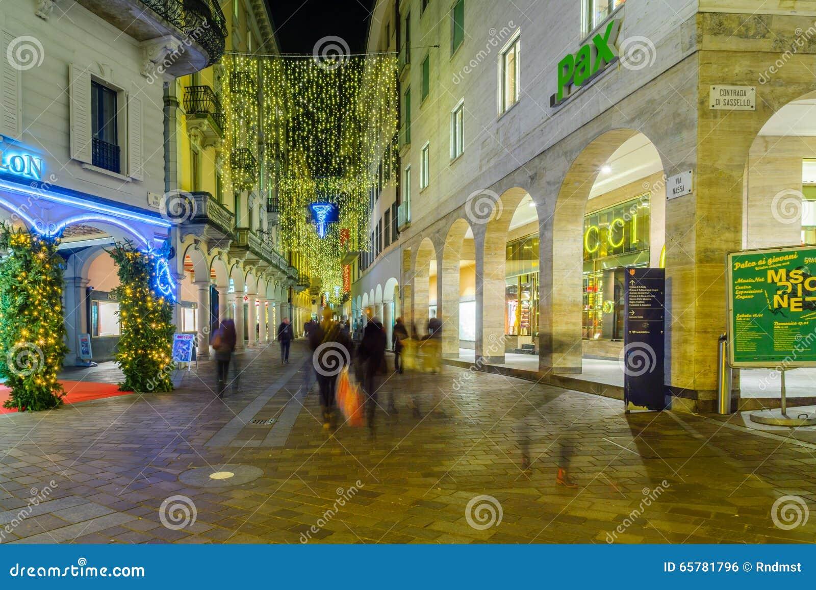 Decorazioni Natalizie Lugano.Natale A Lugano Fotografia Editoriale Immagine Di Cityscape 65781796