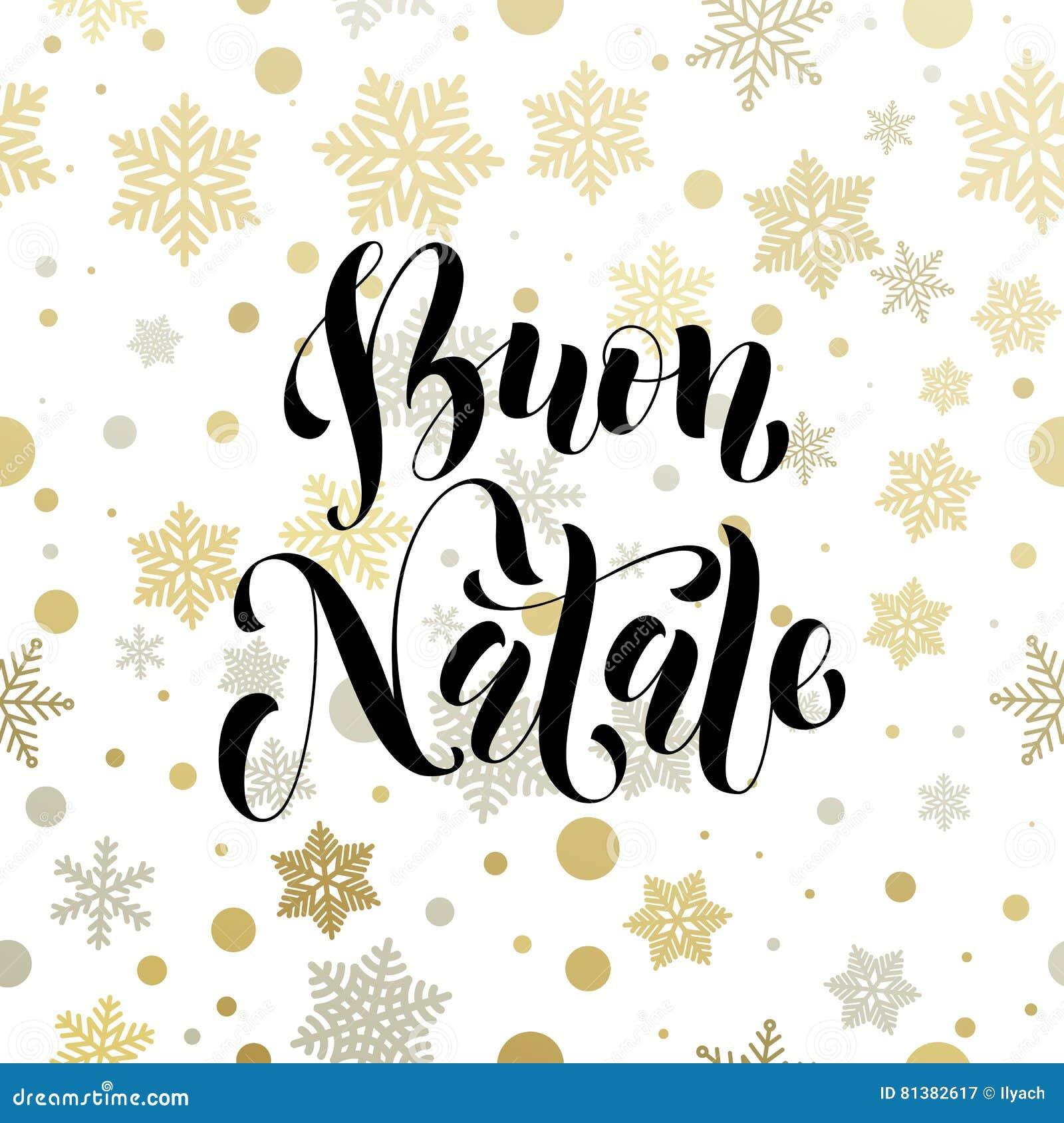 Buon Natale Italia.Natale Nell Iscrizione Dorata Della Cartolina D Auguri Dell Italia Buon Natale Illustrazione Di Stock Illustrazione Di Allegro Italia 81382617
