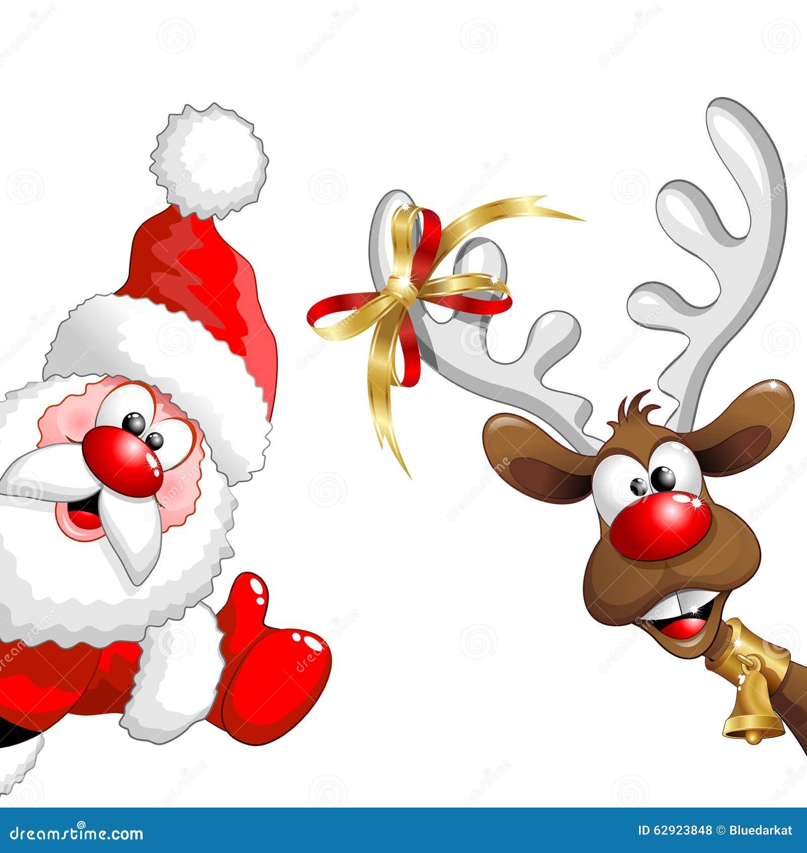 Natale Renna E Santa Fun Cartoons Illustrazione Vettoriale