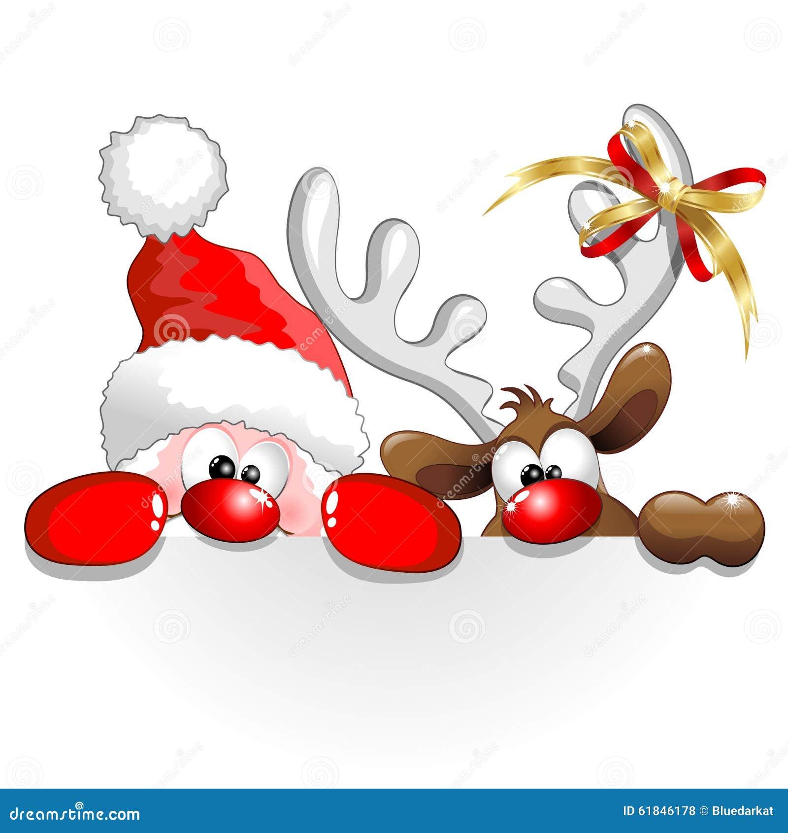 Natale Santa e fumetto di divertimento della renna