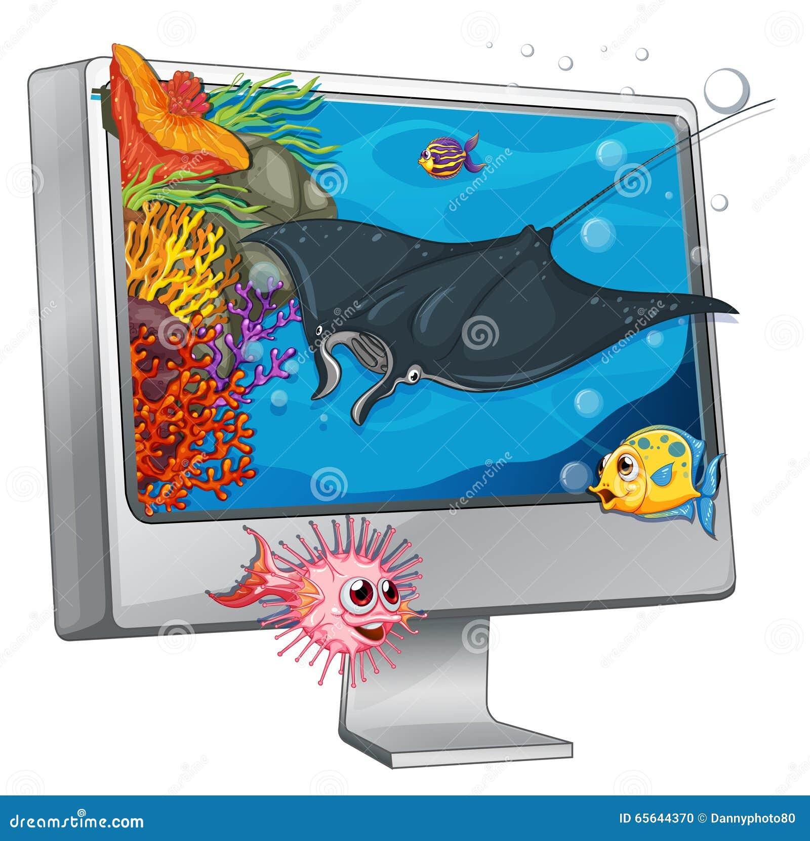 Natation de pastenague sur l écran d ordinateur